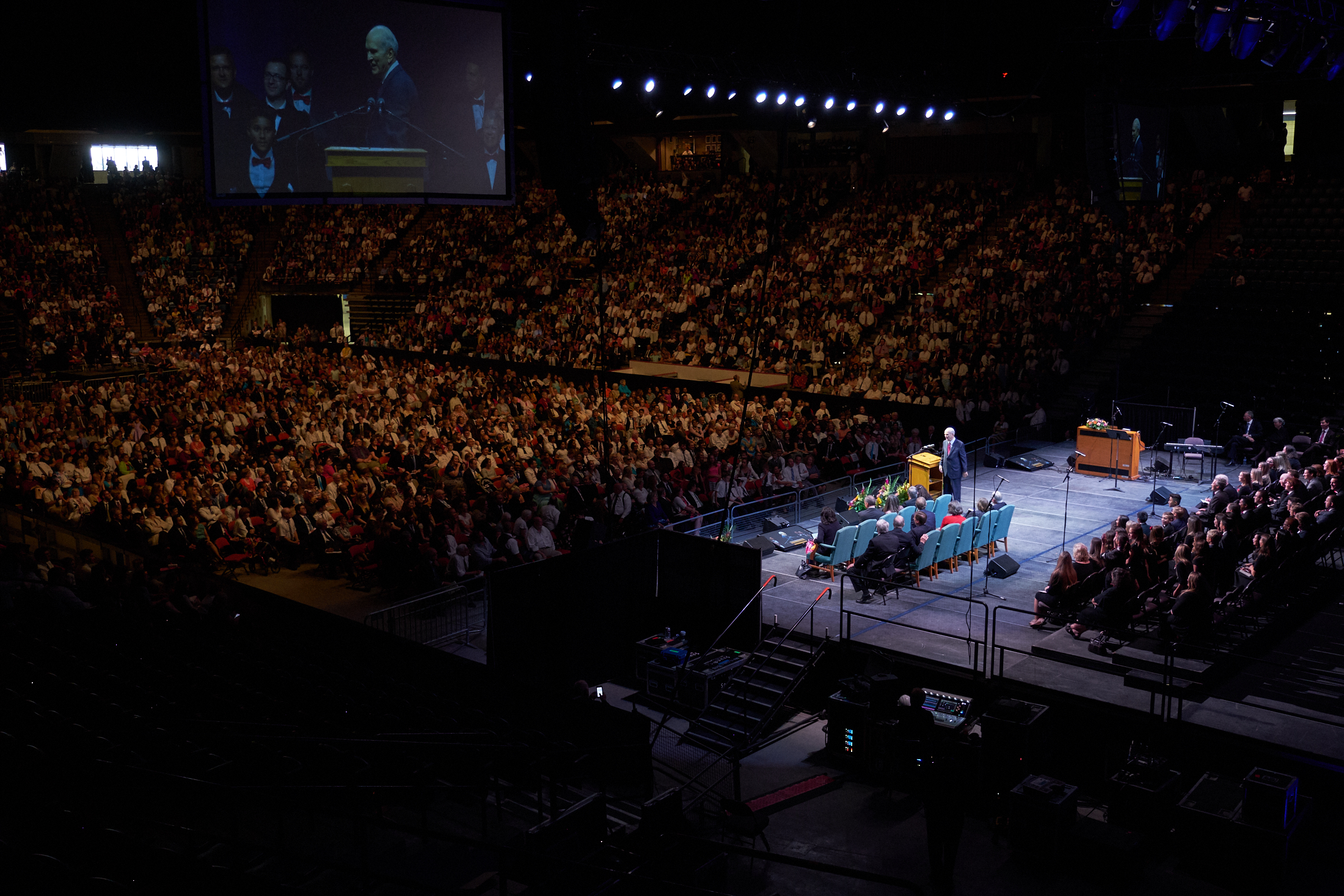 President Russell M. Nelson speaks during a devotional to close to 4,000 Latter-day Saints gathered at the FirstOntario Centre in Hamilton, Ontario, on Sunday, Aug. 19, 2018.