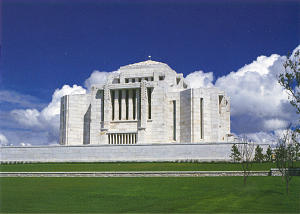The Cardston Alberta Temple, dedicated by President Heber J. Grant in 1923, is Canada's first and the Church's sixth.