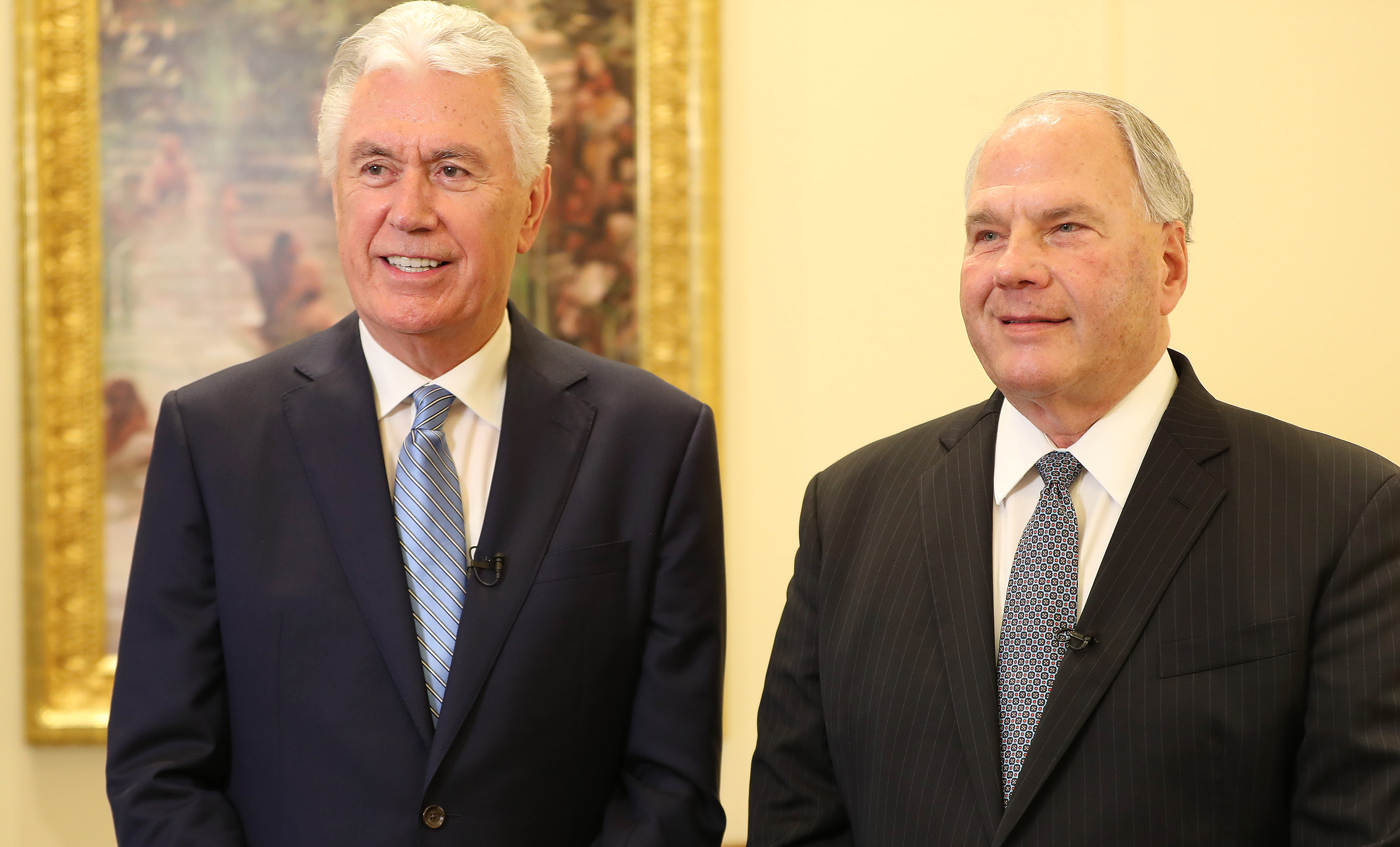 Elder Dieter F. Uchtdorf and Elder Ronald A. Rasband of the Quorum of the Twelve Apostles speak to media after the dedication of the Rome Italy Temple in Rome, Italy, on Sunday, March 10, 2019.