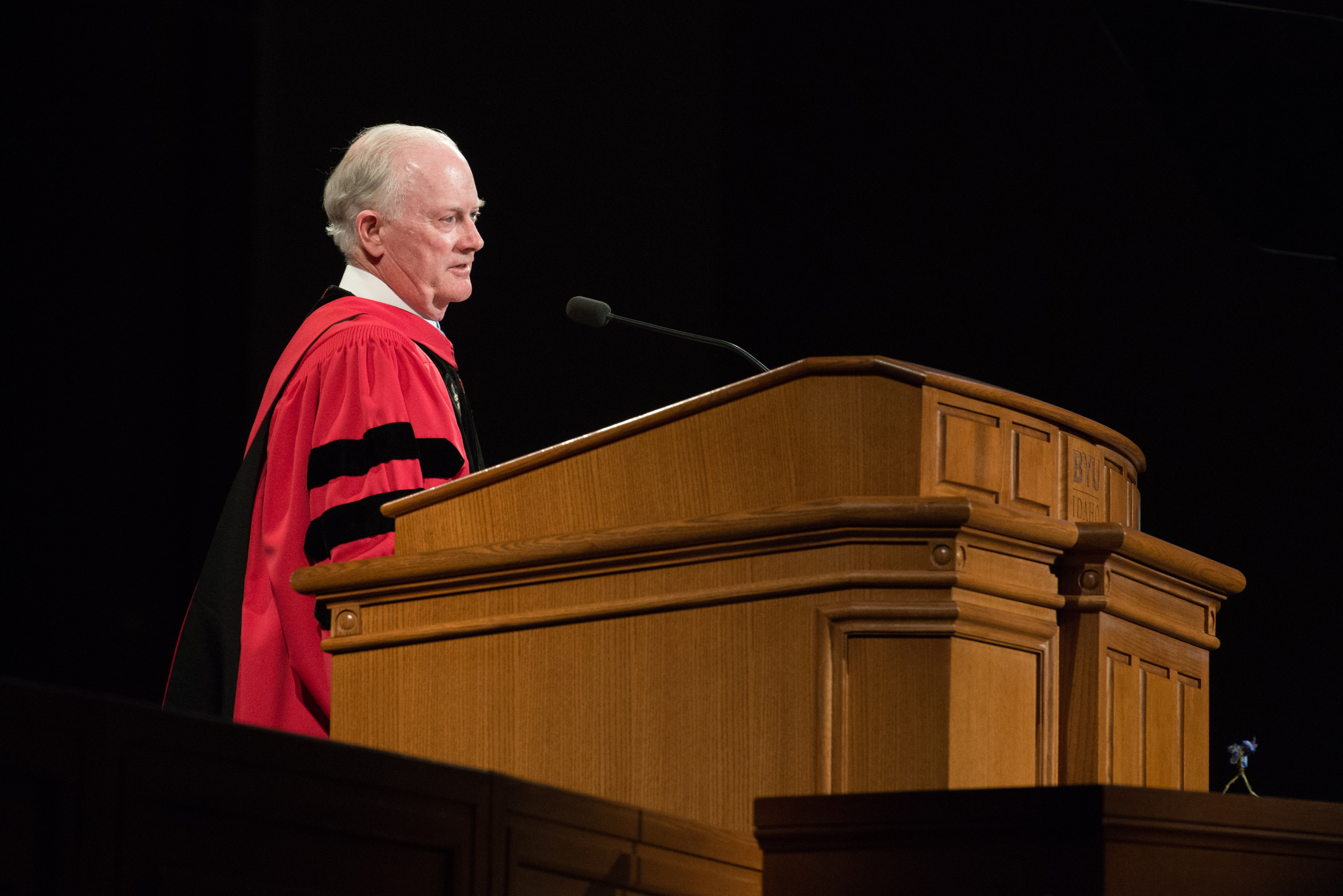 Elder Kim B. Clark, General Authority Seventy and commissioner of the Church Educational System and former President of BYU-Idaho, speaks to BYU-Idaho graduates during commencement exercises on July 23, 2019.