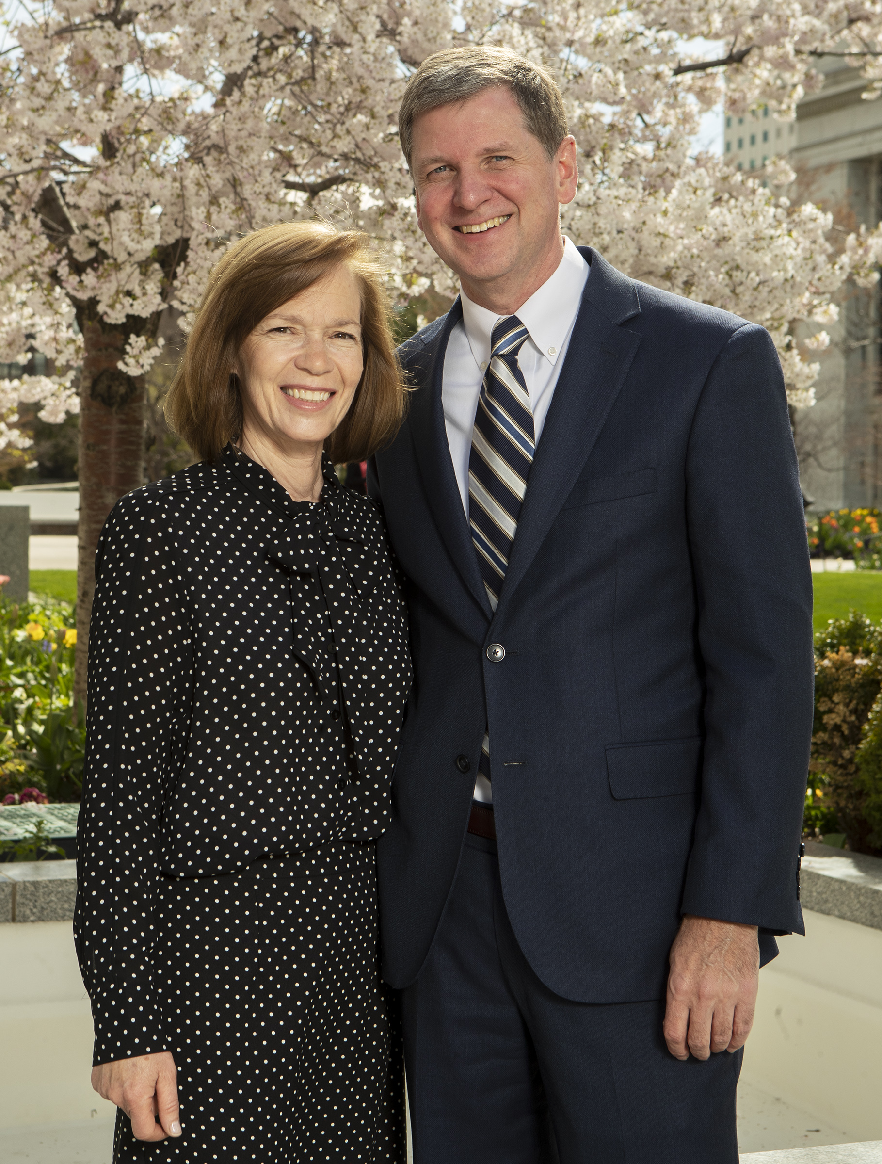 Sister Mary Rasband and Elder James R. Rasband, a new General Authority Seventy, pose for photos at the Church Office Building in Salt Lake City on Monday, April 8, 2019.