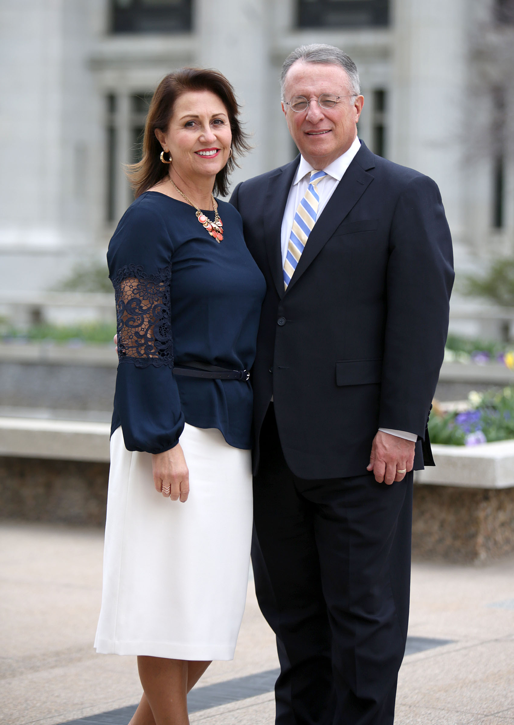 Sister Rosana Soares and Elder Ulisses Soares pose for a portrait outside of the Church Administration Building in Salt Lake City on Wednesday, April 4, 2018.