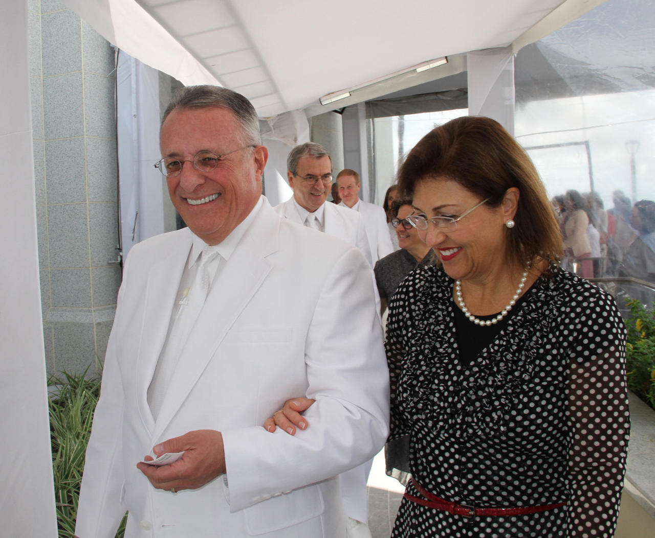 Elder Ulisses Soares of the Quorum of the Twelve Apostles, and his wife, Sister Rosasa Soares, walk to the cornerstone of the Fortaleza Brazil Temple on Sunday, June 2, 2019.