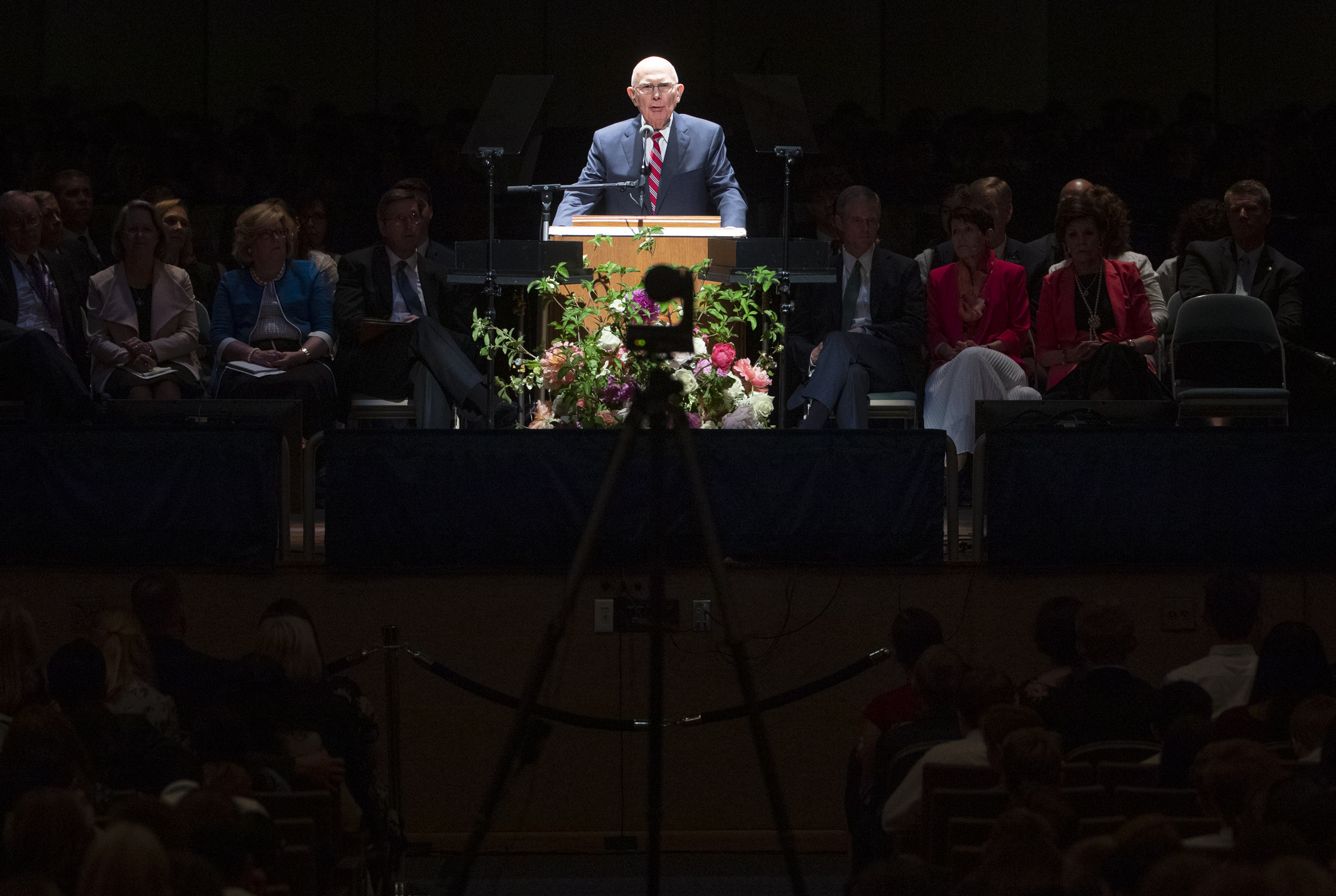 President Dallin H. Oaks, first counselor in the First Presidency of The Church of Jesus Christ of Latter-day Saints, speaks to youth during a devotional at the Interstake Center on the Oakland California Temple grounds on Saturday, June 15, 2019.
