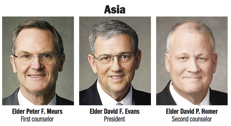 Asia Area presidency: Elder David F. Evans, Elder Peter F. Meurs and Elder David P. Homer.