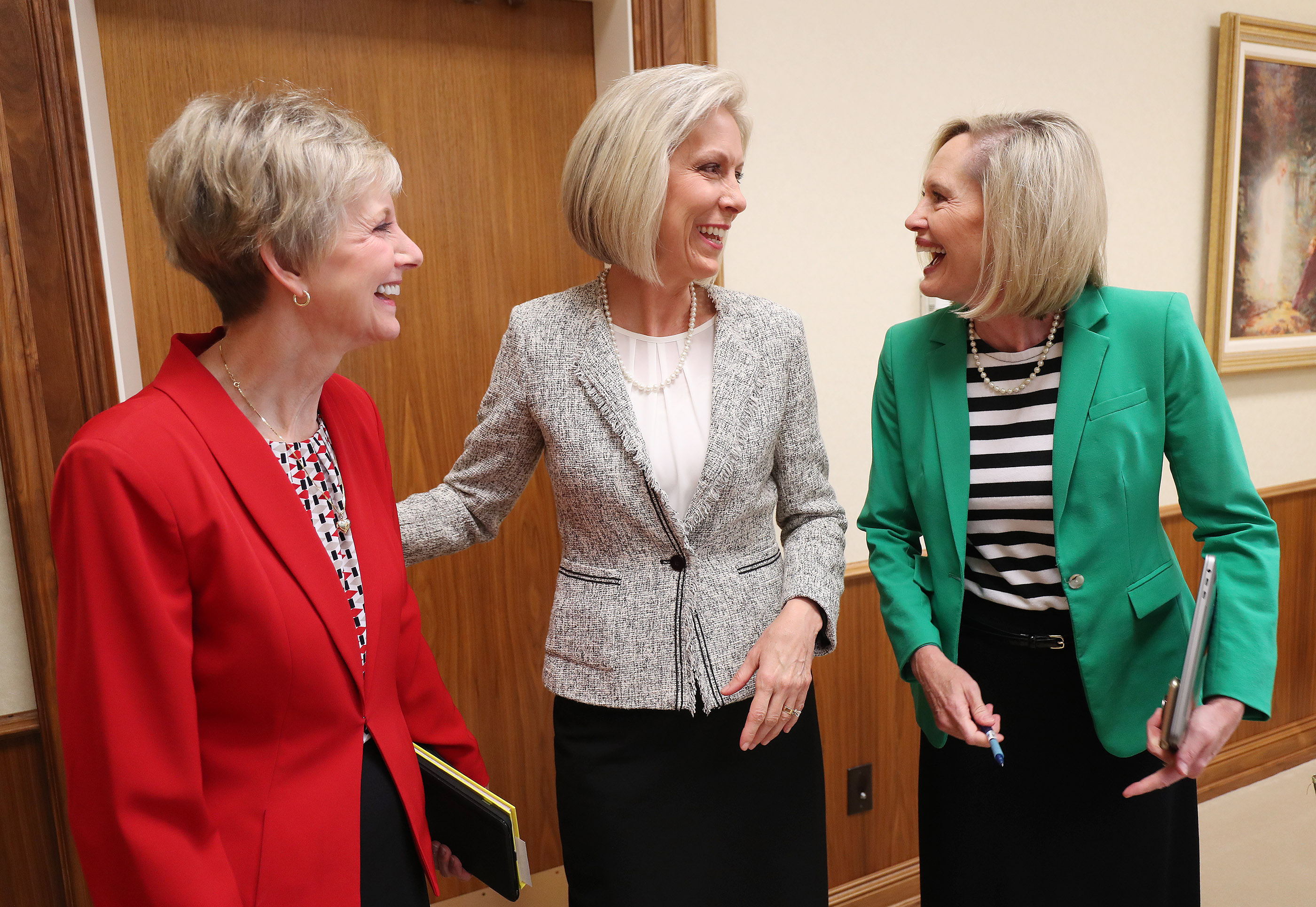 From left, Sister Jean B. Bingham, Relief Society general president, Sister Joy D. Jones, Primary general president, and Sister Bonnie H. Cordon, Young Women general president meet in the Relief Society Building in Salt Lake City on Sept 4, 2018.