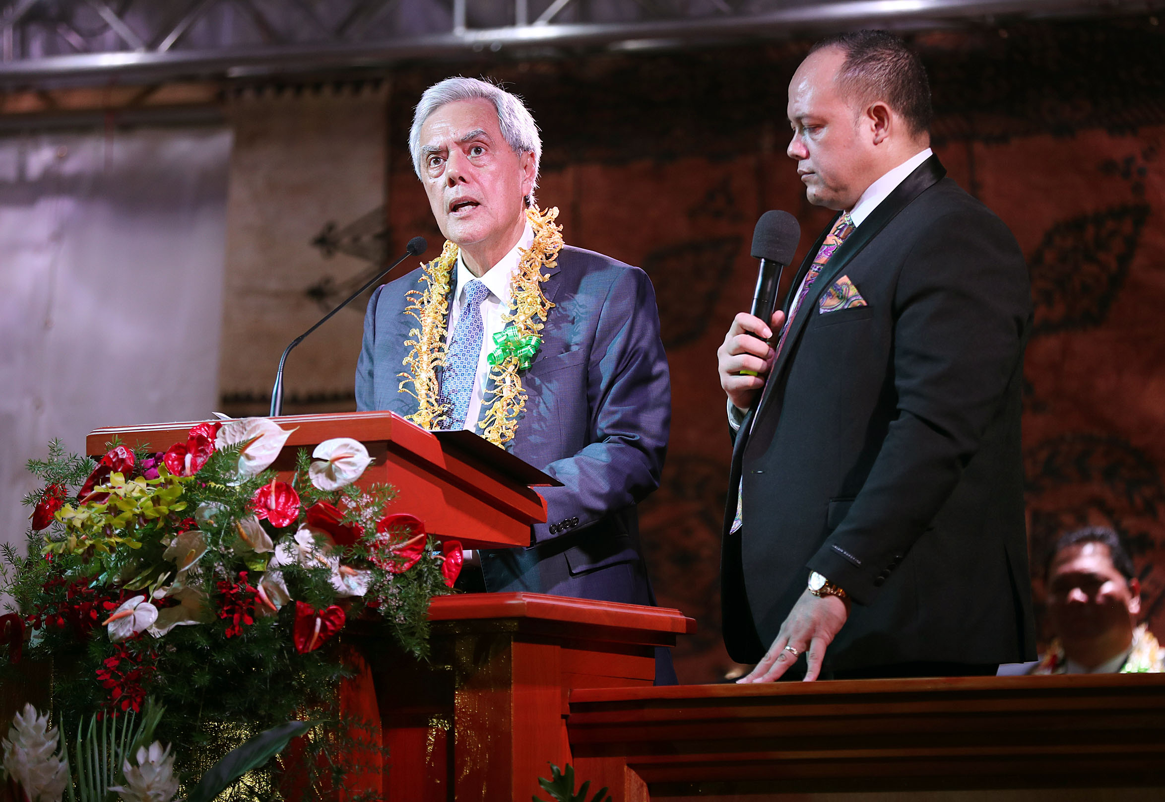 Elder O. Vincent Haleck, a General Authority Seventy and president of the Church's Pacific Area, speaks with an interpreter at right during a devotional with President Russell M. Nelson of The Church of Jesus Christ of Latter-day Saints in Apia, Samoa, on Saturday, May 18, 2019.