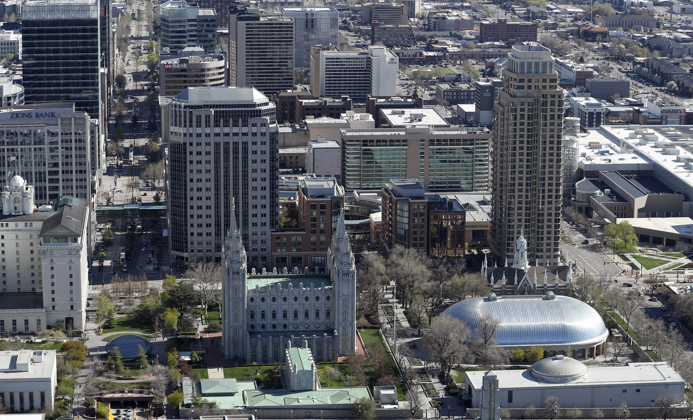 Temple Square and downtown Salt Lake City are photographed on Thursday, April 18, 2019.