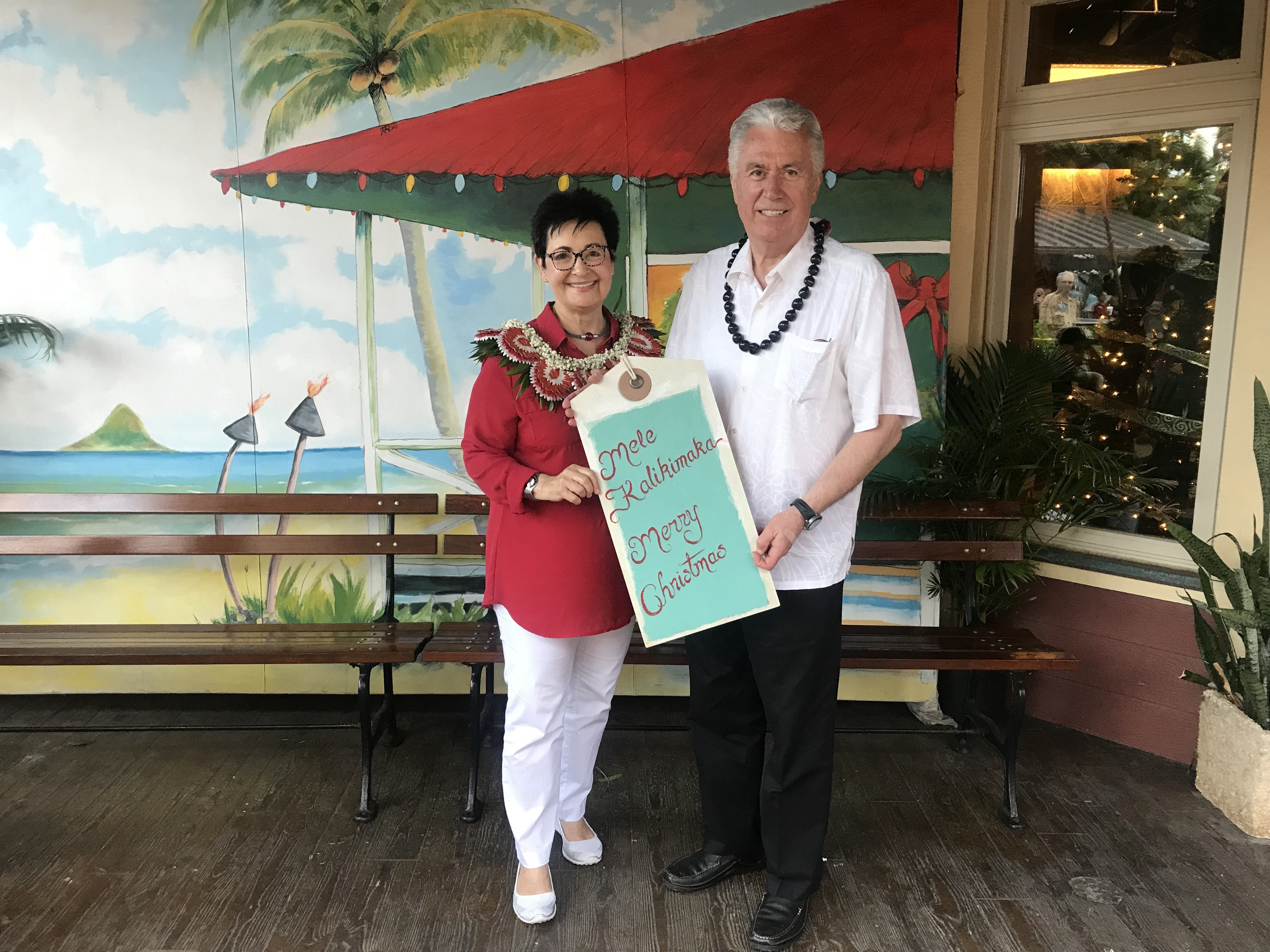 Elder Dieter F. Uchtdorf and his wife, Sister Harriet Uchtdorf, at the Polynesian Cultural Center on Dec. 13. Elder Uchtdorf gave the keynote address at BYU-Hawaii commencement on Dec. 14.