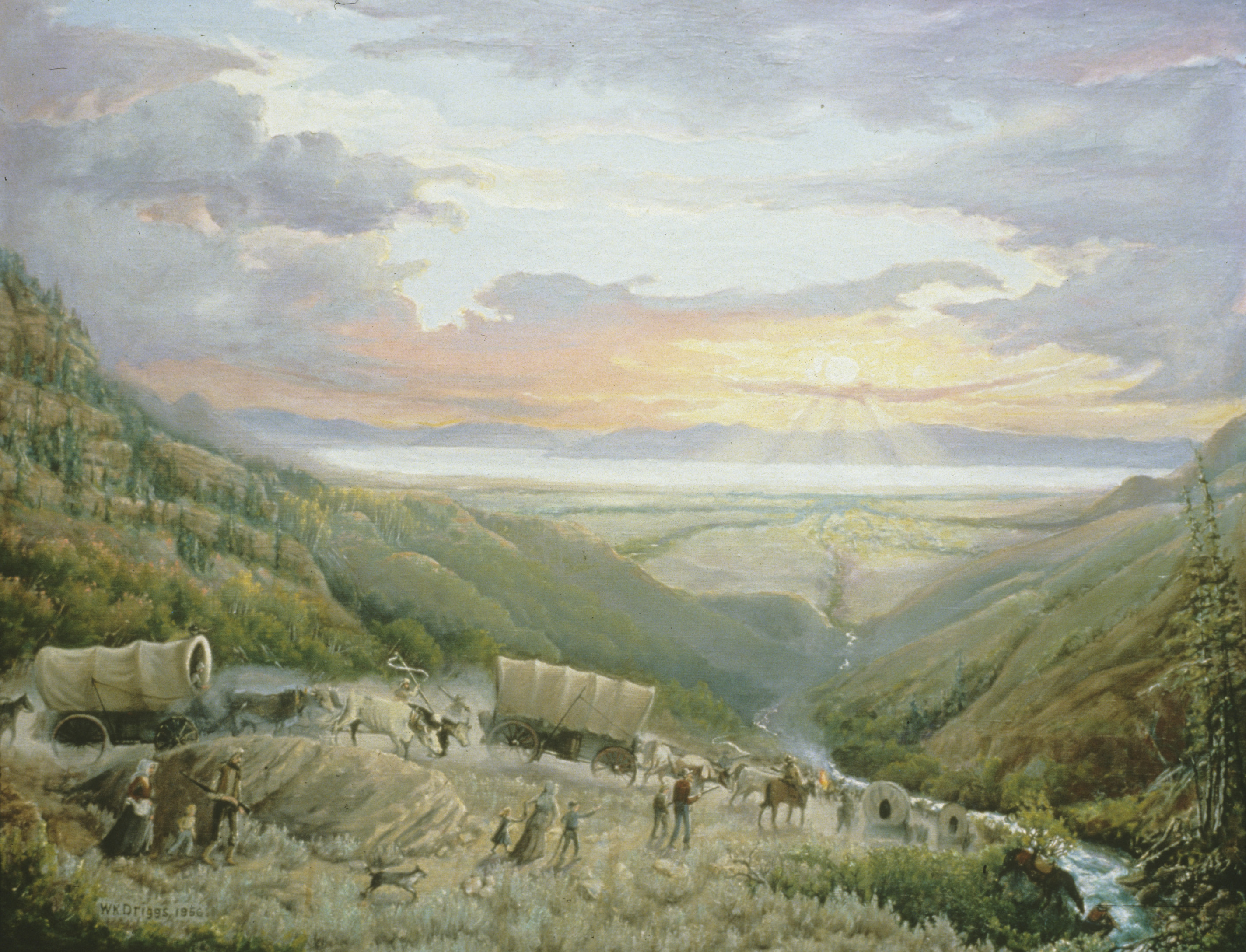 This painting depicts pioneers entering the Salt Lake Valley through Emigration Canyon in July 1847.