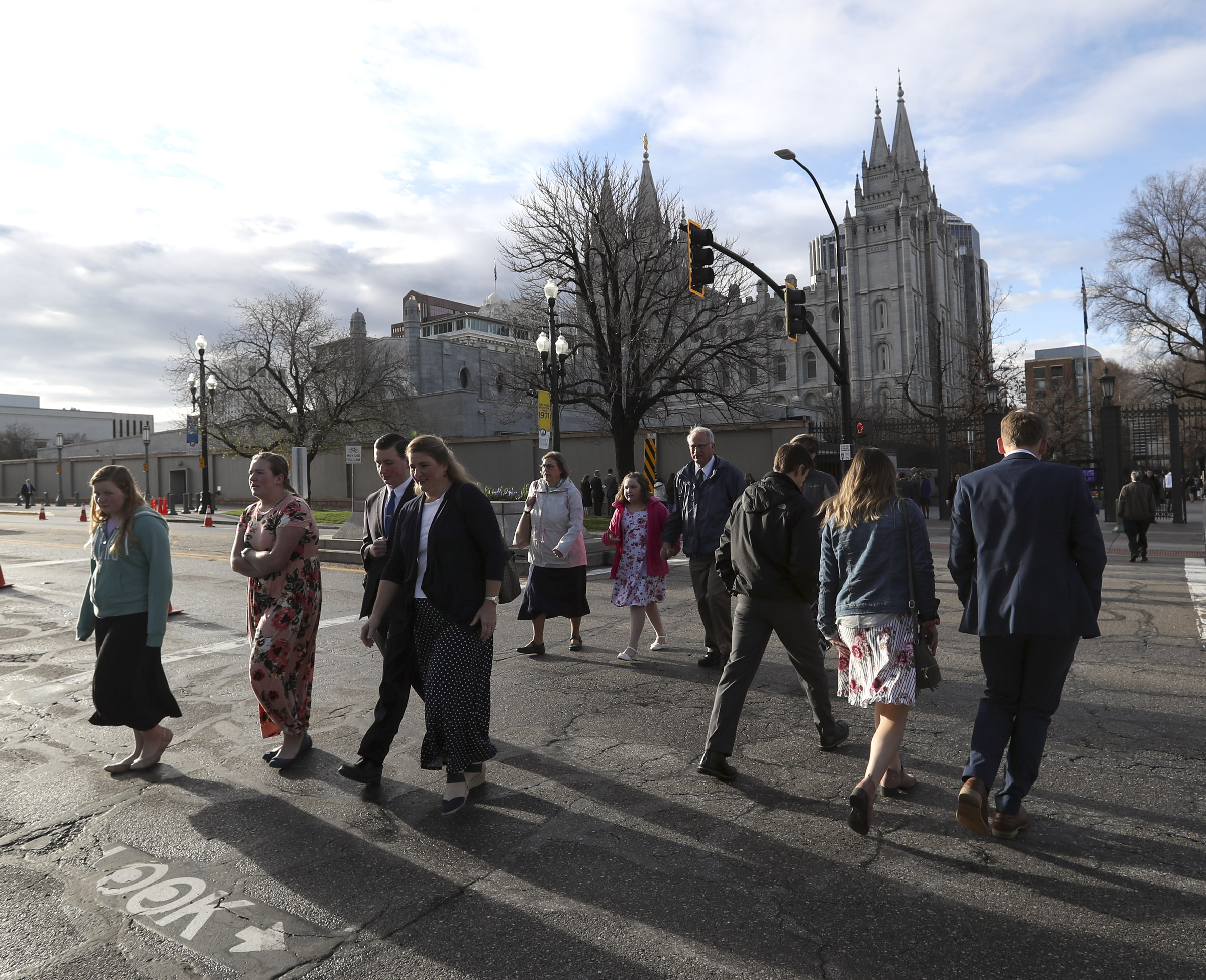 Latter-day Saints arrive at the Conference Center before the Saturday morning session of the 189th Annual General Conference of The Church of Jesus Christ of Latter-day Saints in Salt Lake City on Saturday, April 6, 2019.
