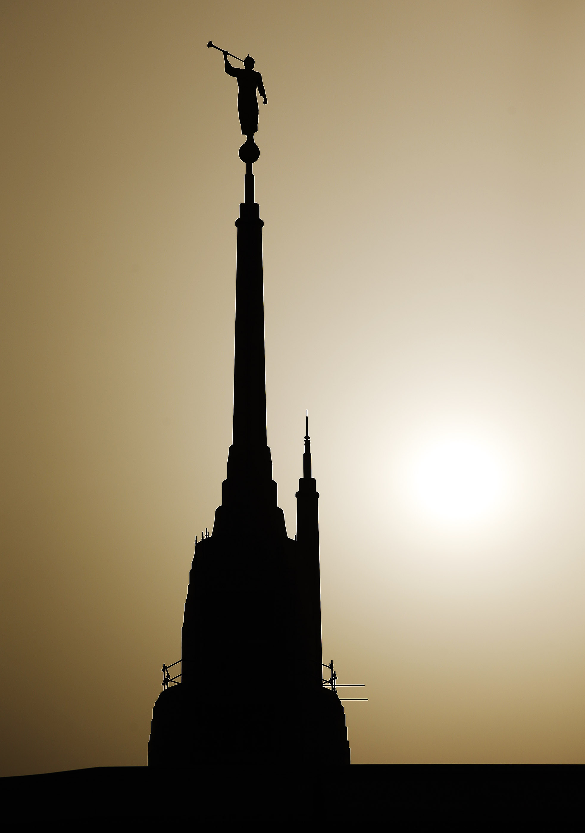 The sun sets behind the Rome Italy LDS Temple nearing completion in Rome, Italy on April 15, 2018.