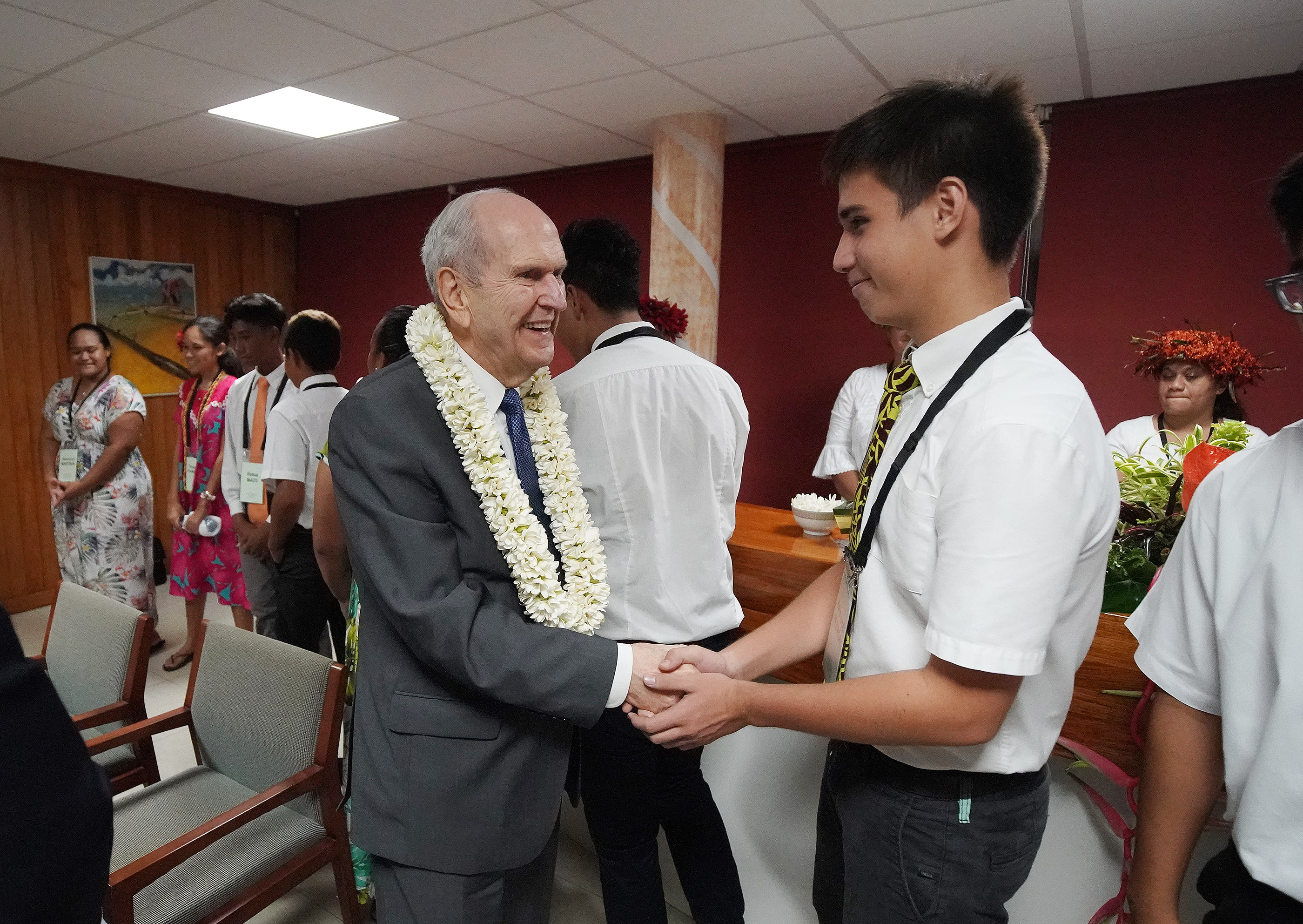 President Russell M. Nelson of The Church of Jesus Christ of Latter-day Saints greets Heimana Pedron after a Tahiti cultural program in Papeete, Tahiti, on May 24, 2019.