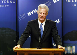 Kevin J Worthen speaks during a press conference in Provo, Utah, March 11, 2014, after it was announced that he is to become Brigham Young University's 13th president.