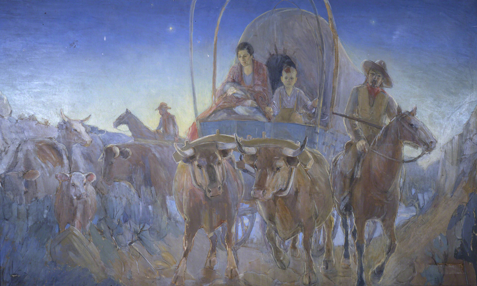 """""""Covered Wagon Pioneers, Madonna at Dawn,"""" by Minerva K. Teichert. Thomas Alexander, who was the president of the National Society of the Sons of Utah Pioneers in 2015, explained that more people came to Utah by wagon than handcart between 1856 and 1861."""
