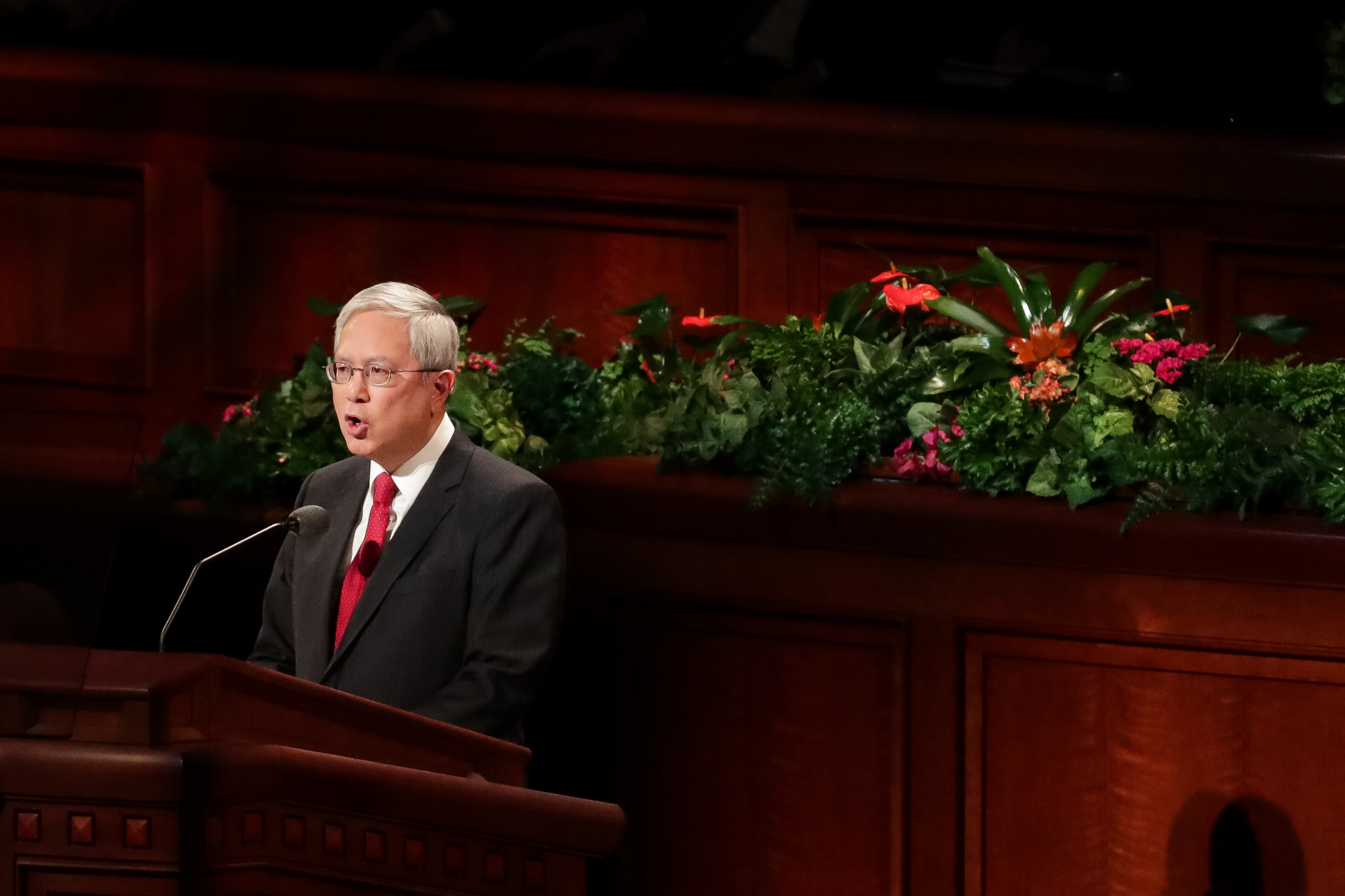 Elder Gerrit W. Gong of the Quorum of the Twelve Apostles speaks during the Saturday afternoon session of the 188th Semiannual General Conference of The Church of Jesus Christ of Latter-day Saints in the Conference Center in Salt Lake City on Saturday, Oct. 6, 2018.