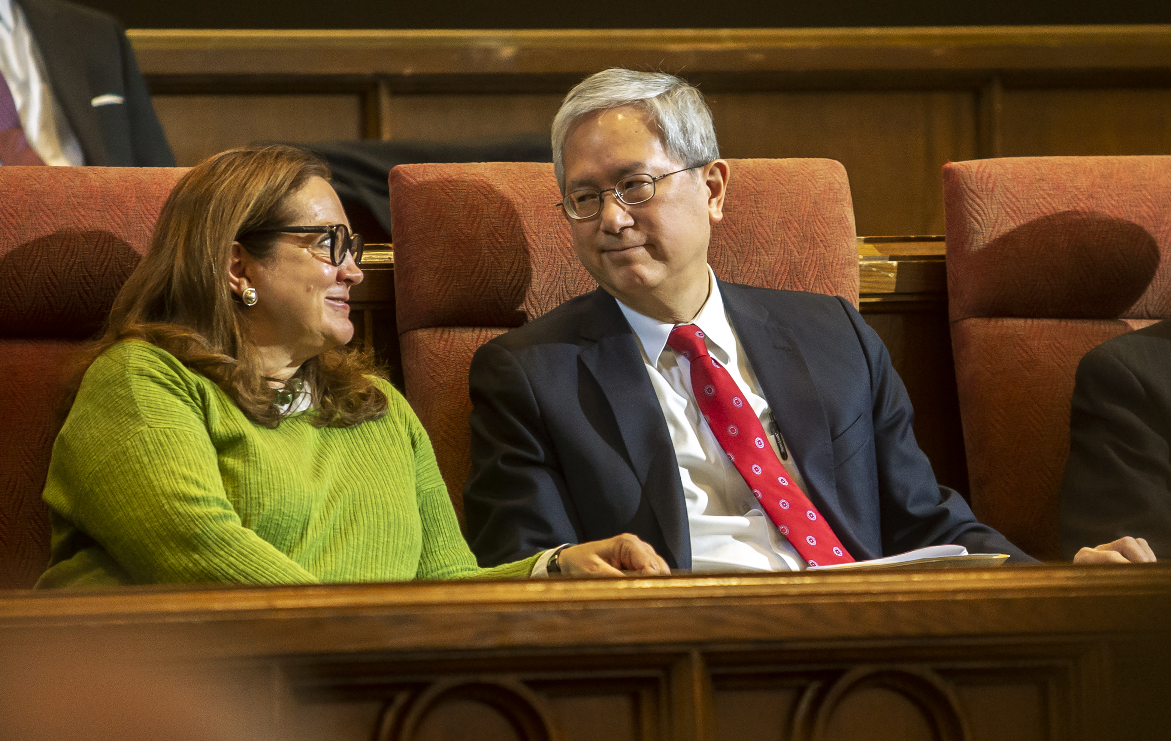 Elder Gerrit W. Gong of the Quorum of the Twelve Apostles of The Church of Jesus Christ of Latter-day Saints and his wife Susan share a smile prior to his speaking to a group of LDS Business College Students and staff in the Assembly Hall on Temple Square in Salt Lake City on Tuesday, Feb. 26, 2019.