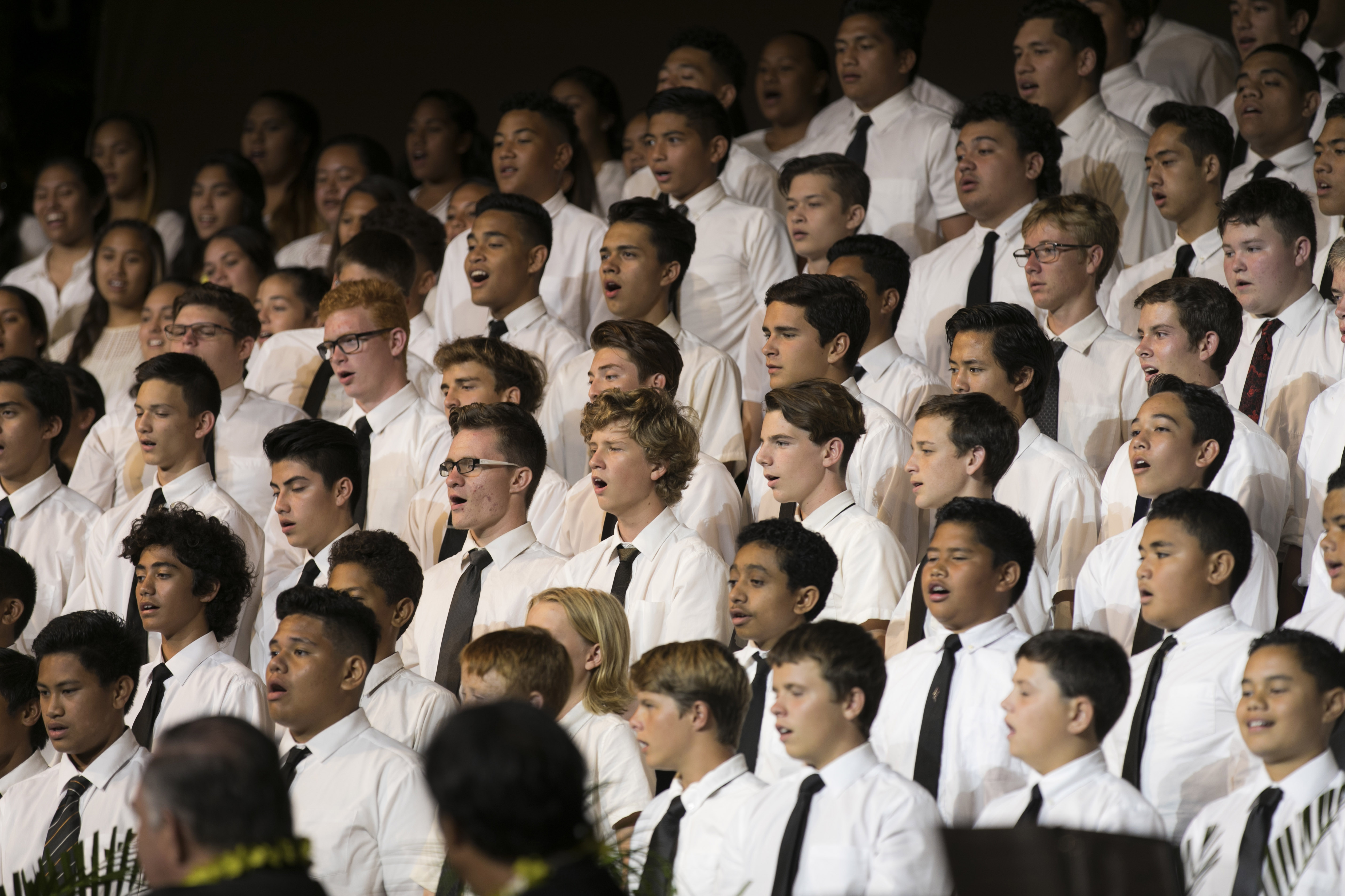 A choir performs during a special devotional with President Russell M. Nelson and his wife, Sister Wendy W. Nelson, and Elder Jeffrey R. Holland and his wife, Sister Patricia T. Holland, held in Laie, Hawaii on April 22.