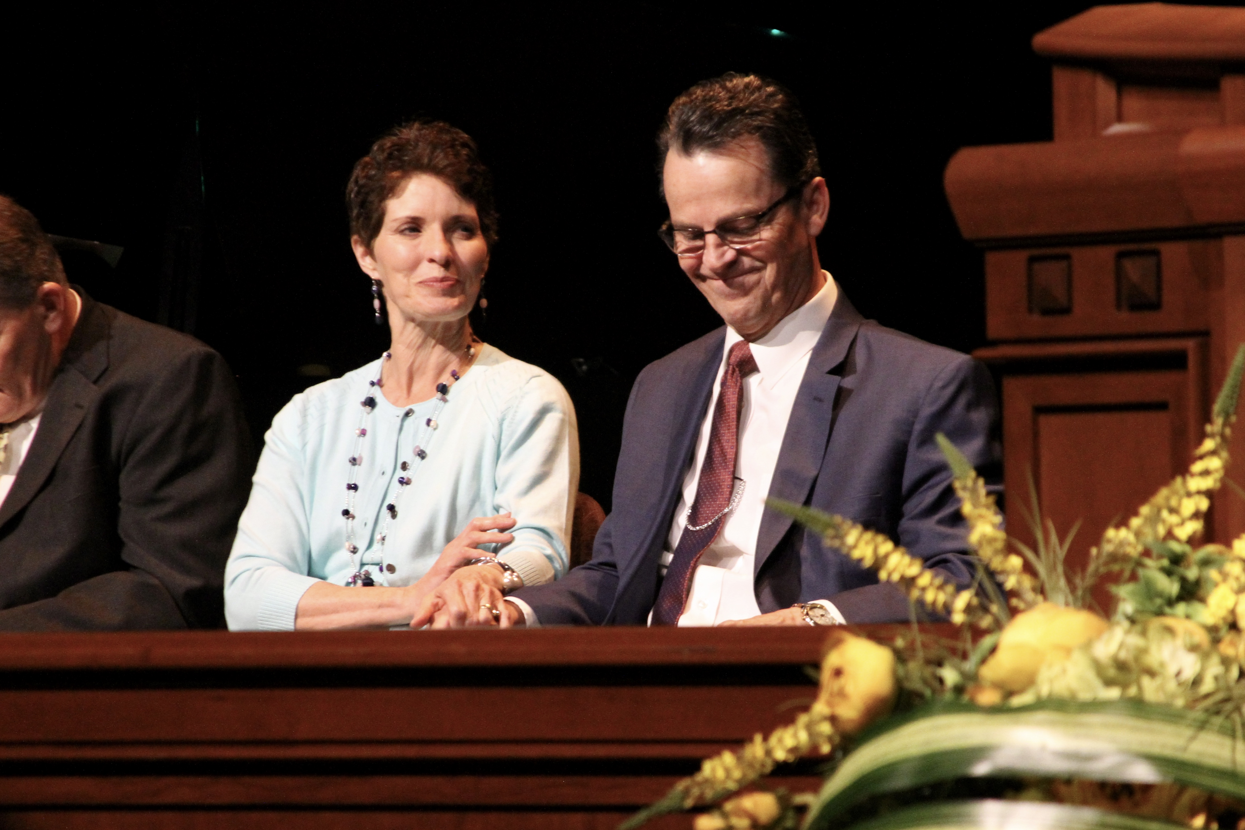 Elder Bowen sits with his wife, Sister Lynette Bowen, prior to his May 28, 2019, LDS Business College devotional address at the Conference Center Theater.