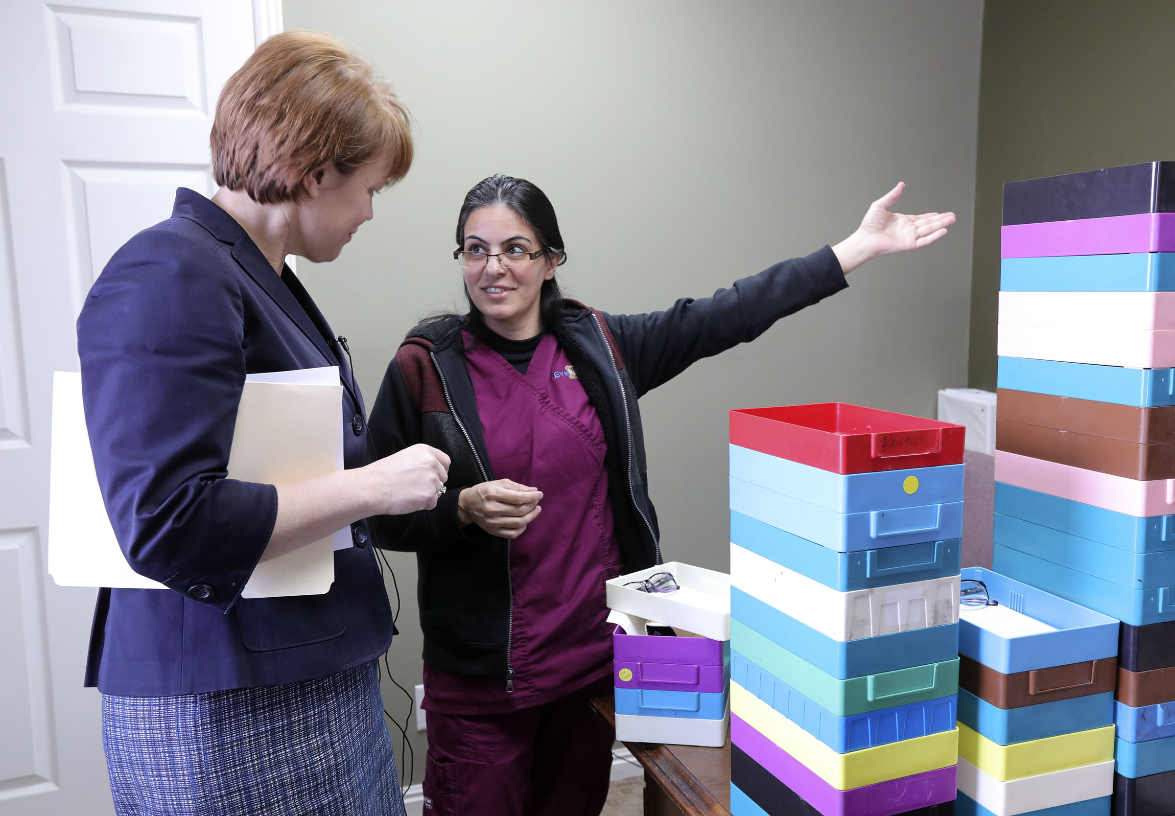Sister Sharon Eubank, first counselor in the General Relief Society presidency of The Church of Jesus Christ of Latter-day Saints, chats with Parisa Abdoly, Eye Care 4 Kids lab technician, at Eye Care 4 Kids in Midvale, Utah, on Thursday, Feb. 7, 2019. The Church of Jesus Christ of Latter-day Saints 2018 Light the World campaign raised more than $93,000 for Eye Care 4 Kids.