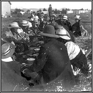 """""""First, dig a trench, make a roaring fire in it. Pile on rocks. Kill a pig ... gather puha, cover hangi. Women make harakeke dishes. In less than one hour food is cooked; Everybody fed."""" \\\\— Elder Oliver Cowdery Dunford"""