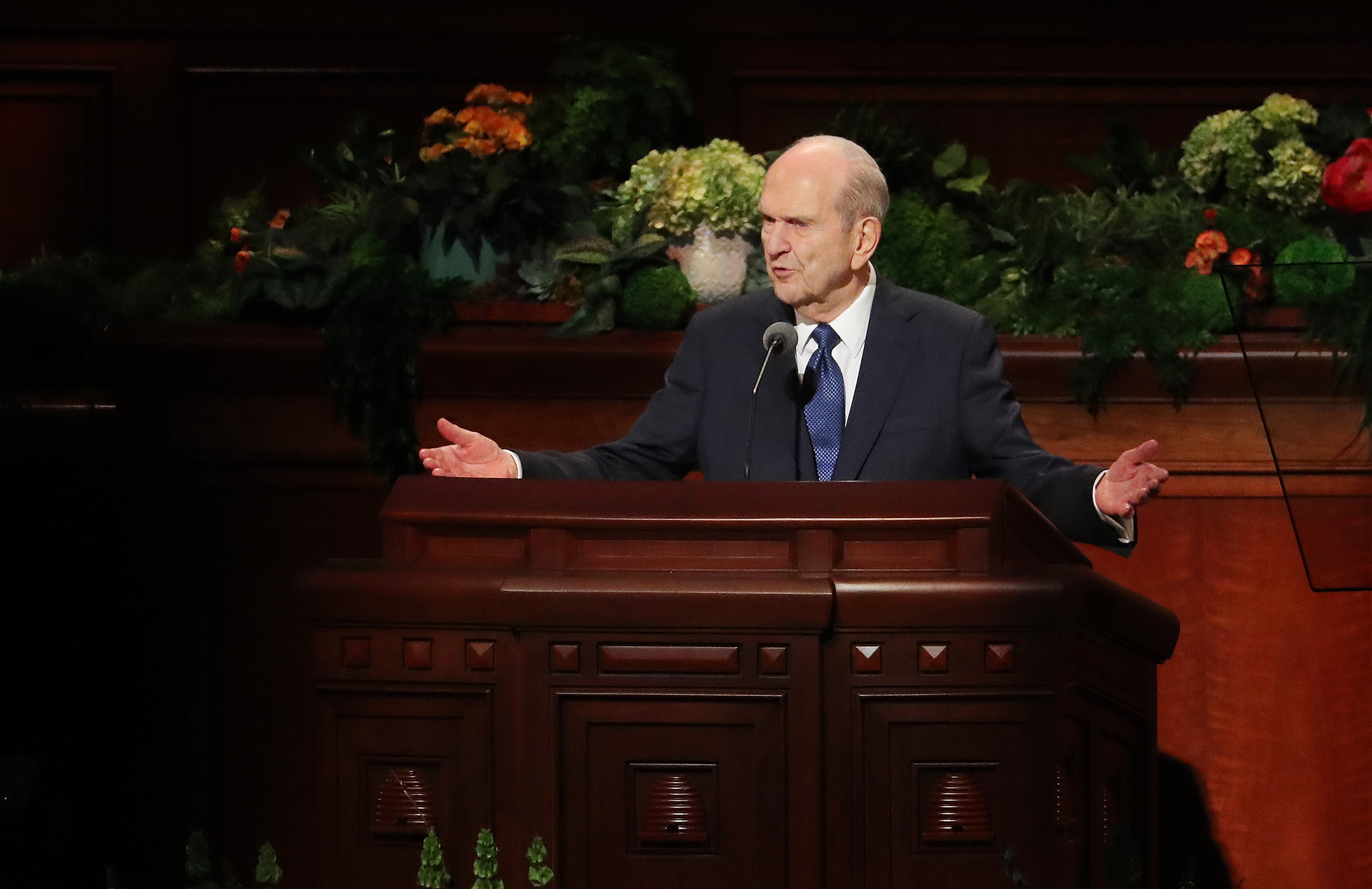 President Russell M. Nelson of The Church of Jesus Christ of Latter-day Saints, speaks during the 189th Annual General Conference of The Church of Jesus Christ of Latter-day Saints in the Conference Center in Salt Lake City on Sunday, April 7, 2019.