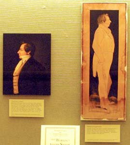 Library of Congress display shows paintings of Joseph Smith by Sutcliffe Maudsley, right, c. 1843, and by Danquart Weggeland.