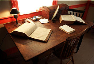 Desk graces a room of the John Johnson home in Hiram, Ohio, not far from Kirtland. It was in this room that Joseph Smith and Sidney Rigdon saw the vision of the degrees of glory described in Doctrine and Covenants Section 76.