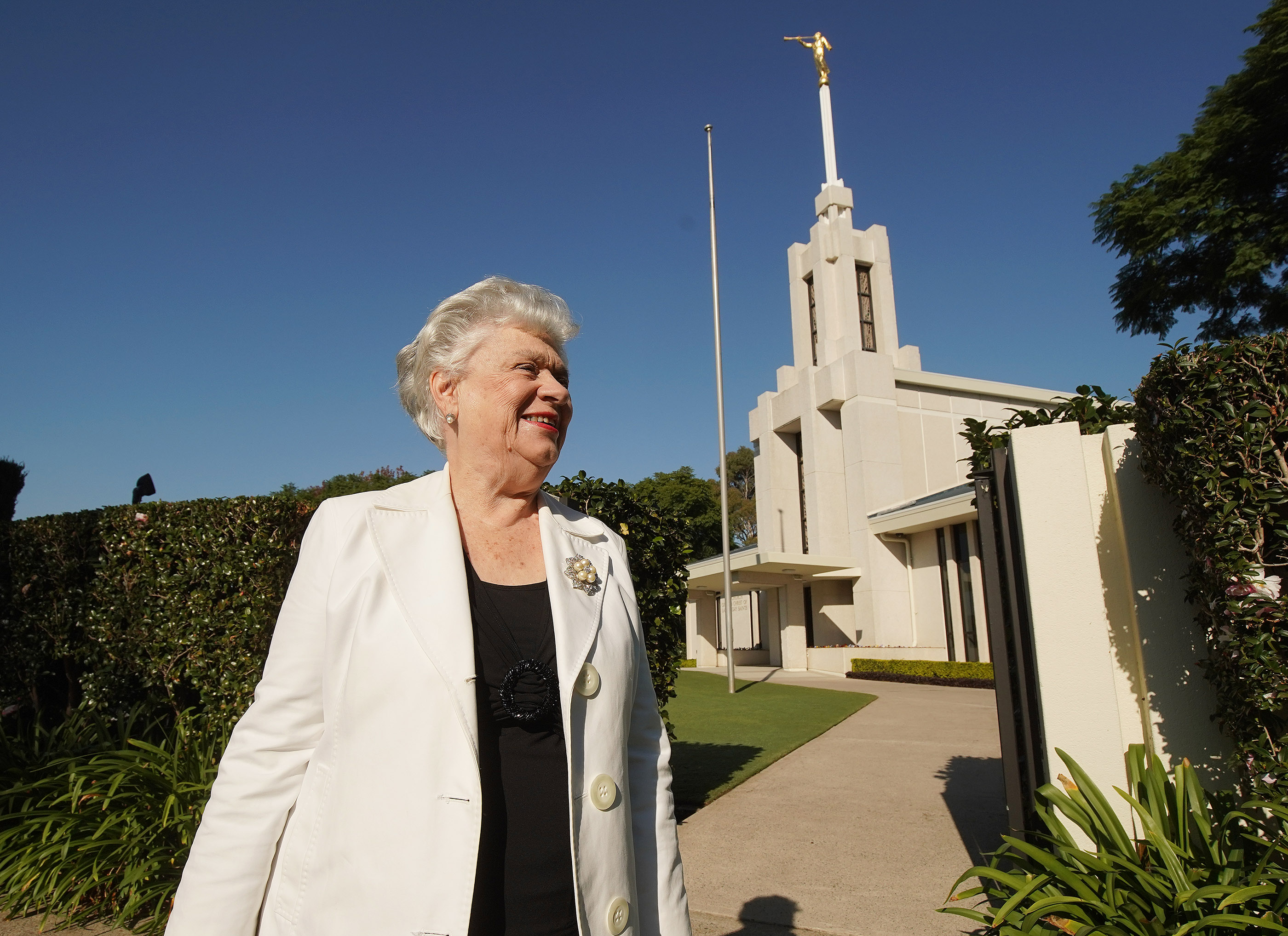 Elva Merle Mitchell looks over the grounds at the Sydney Australia Temple on May 18, 2019, in Sydney, Australia.
