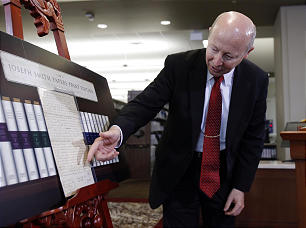 Assistant Church Historian and Recorder Richard E. Turley Jr. displays historical documents during a press conference announcing the release of the latest volume in the Church's ongoing Joseph Smith Papers Project in Salt Lake City, Wednesday, Sept. 4.