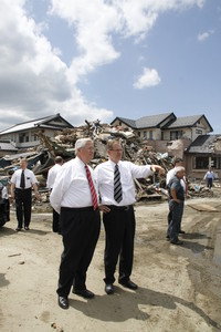 On June 15, 2011, three months after earthquake and tsunami in Japan, Presiding Bishop H. David Burton and Elder Gary E. Stevenson of the Seventy and president of the Church's Asia North Area, survey destruction in Higashi Matsushima, Japan, a coastal community devastated by the disaster.