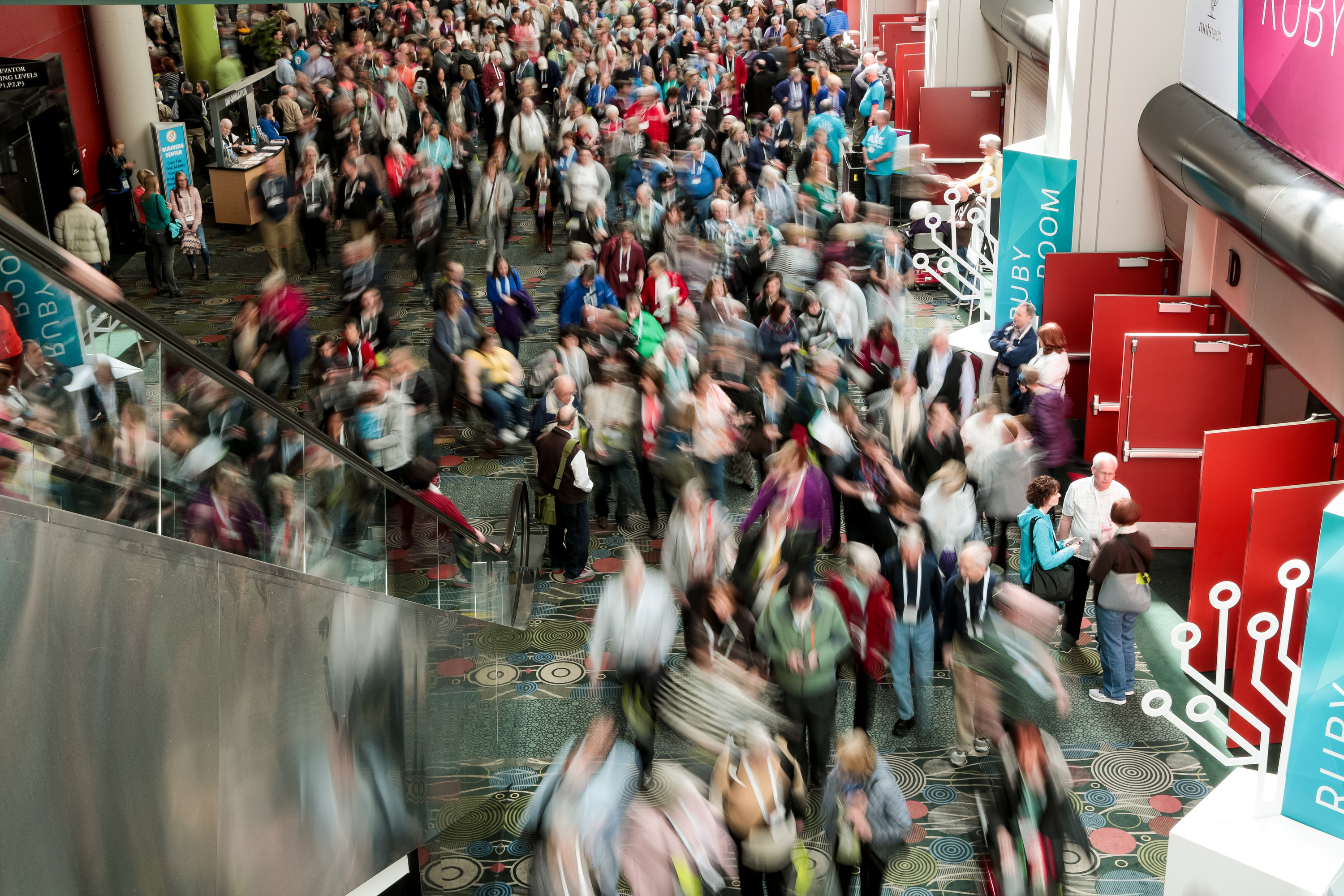 Attendees exit the Main Stage area after the keynote address at the RootsTech conference at the Salt Palace in Salt Lake City on Friday, March 1, 2019.