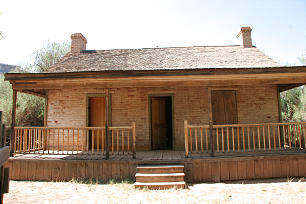 The John Wood Home was built out of soft-fired brick in 1877 by its namesake, a blacksmith and carpenter called to Grafton by President Brigham Young. Brother Wood lived with his wife Ellen and their three children.