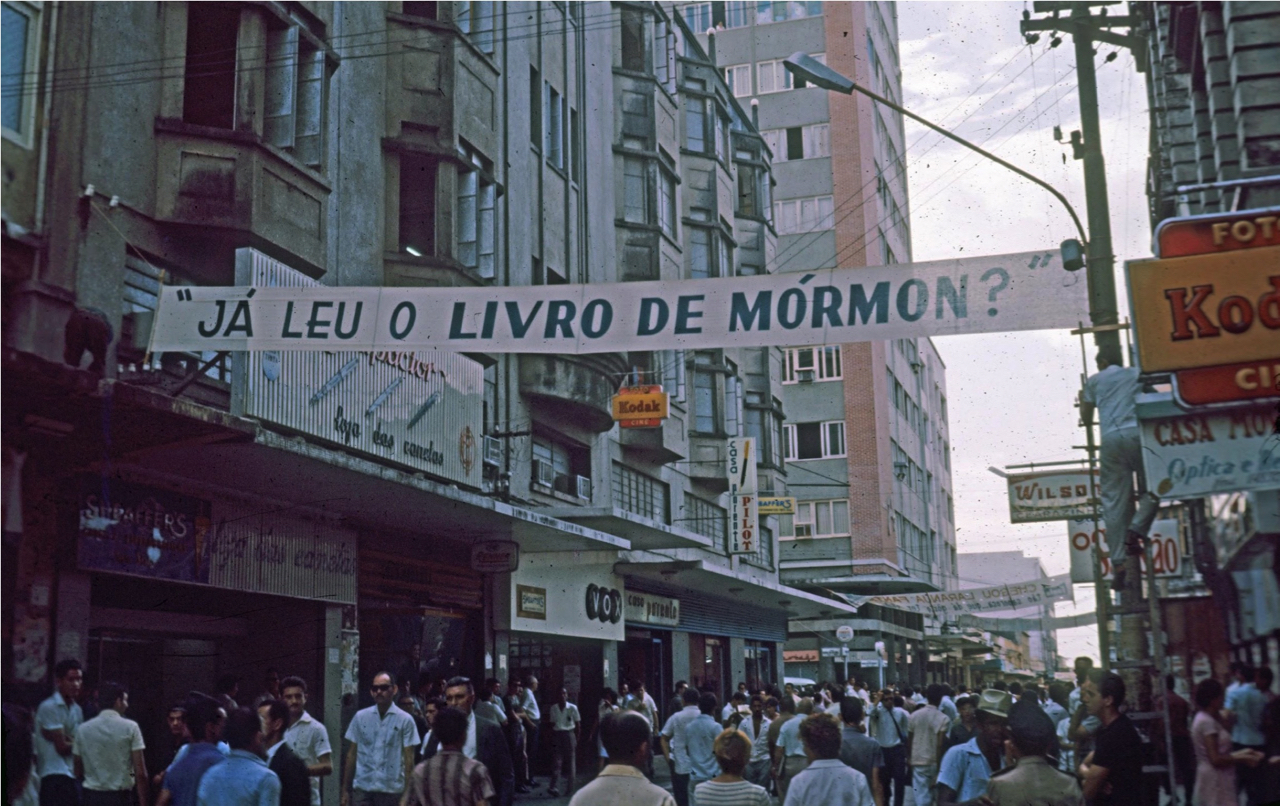 One of several banners the missionaries had printed and hung in downtown Fortaleza, Brazil, in 1966.