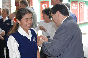Dr. Rene Oliva, the Church's area welfare manager in Central America, administers one of the first vaccinations during Guatemala measles campaign. The Church began campaign against rubella measles in November 2006.