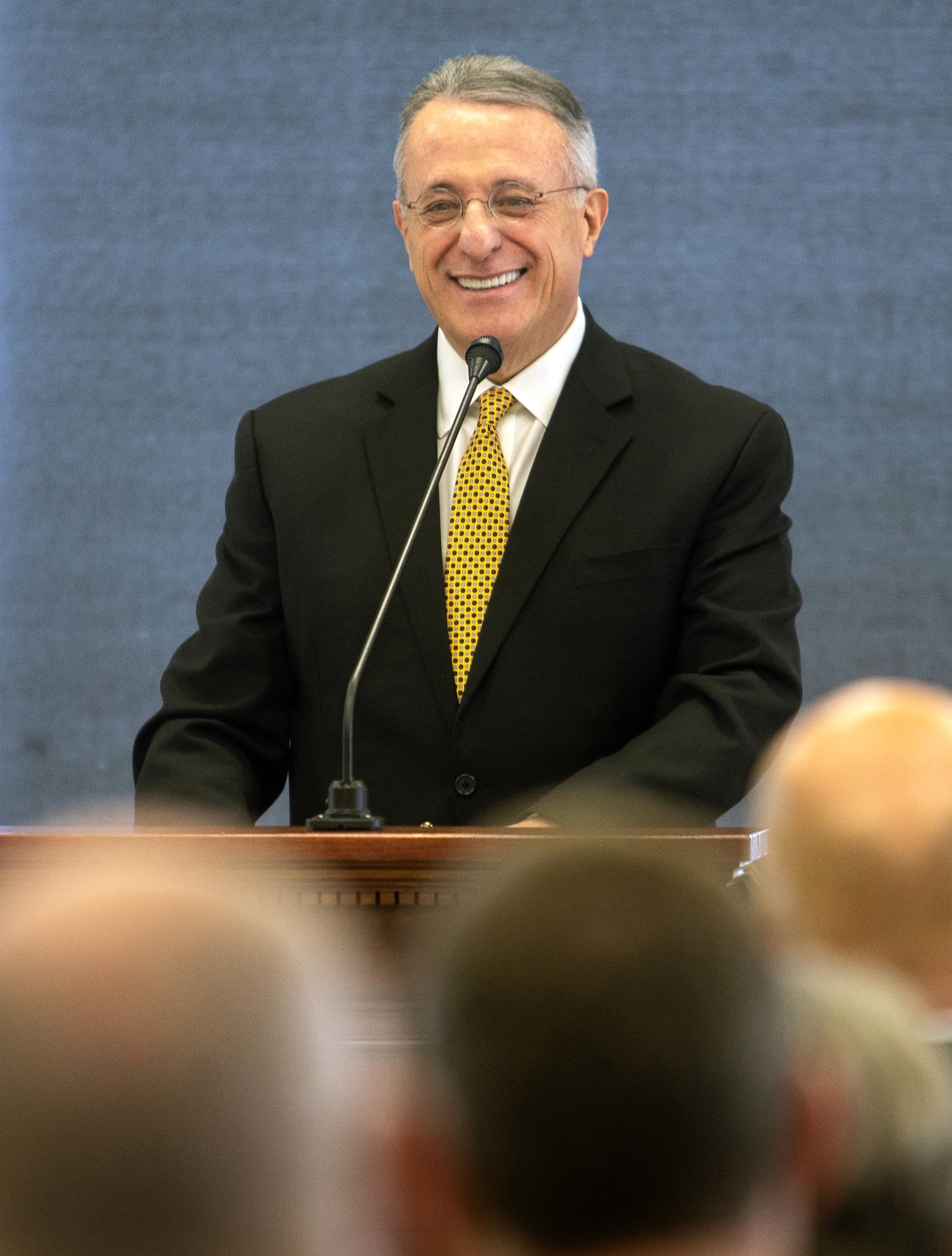 Elder Ulisses Soares of the Quorum of the Twelve Apostles gives a short speech then gives the rededication prayer for the Caroline Hemenway Harman Building at BYU in Provo, Utah, on Tuesday, Feb. 5, 2019.