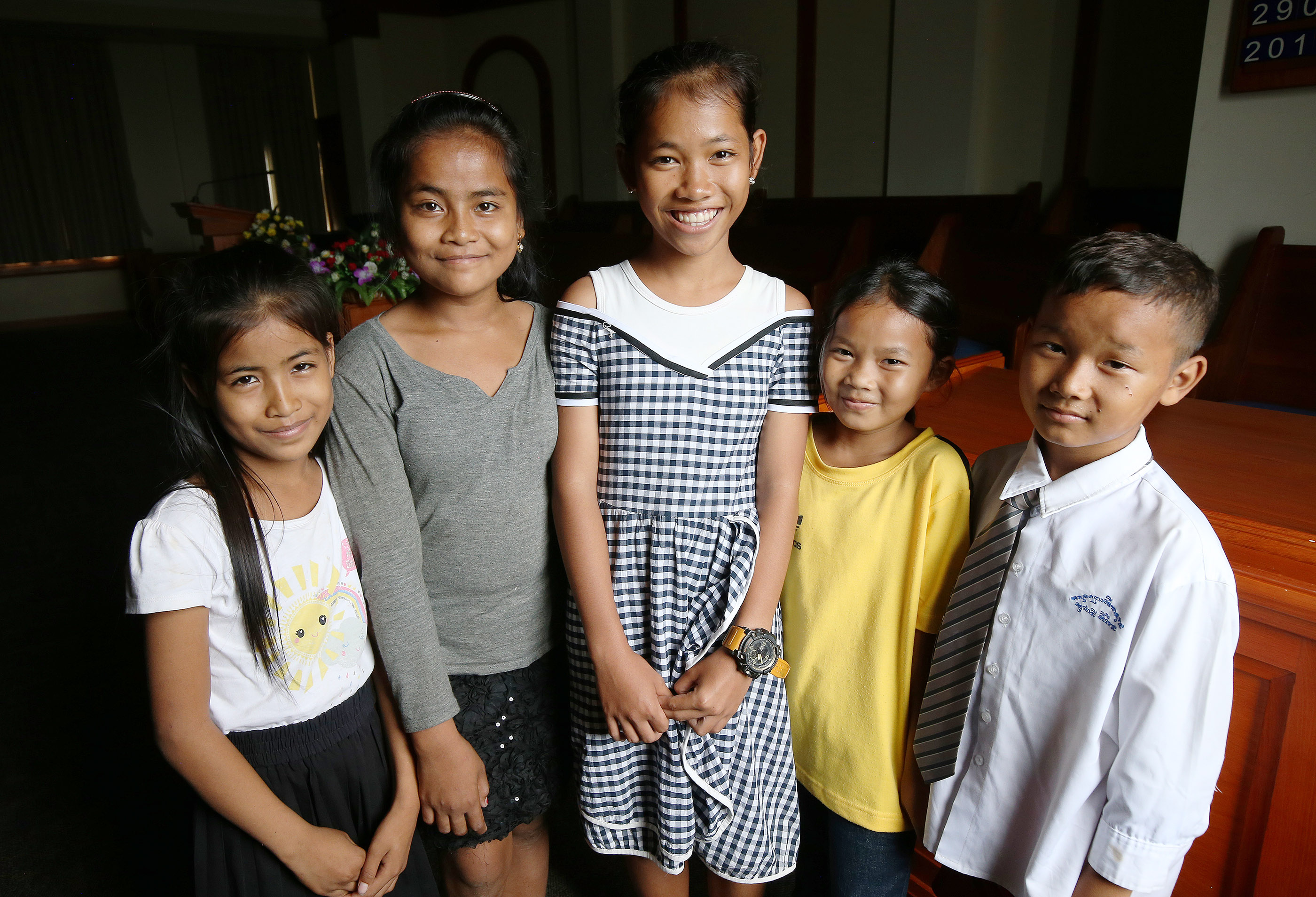 Kampong Thom Branch Primary children pose in the chapel in Cambodia on April 28, 2018.