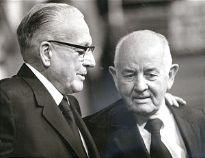 President Spencer W. Kimball, right, chats between sessions at the October 1973 general conference with his predecessor, President Harold B. Lee.
