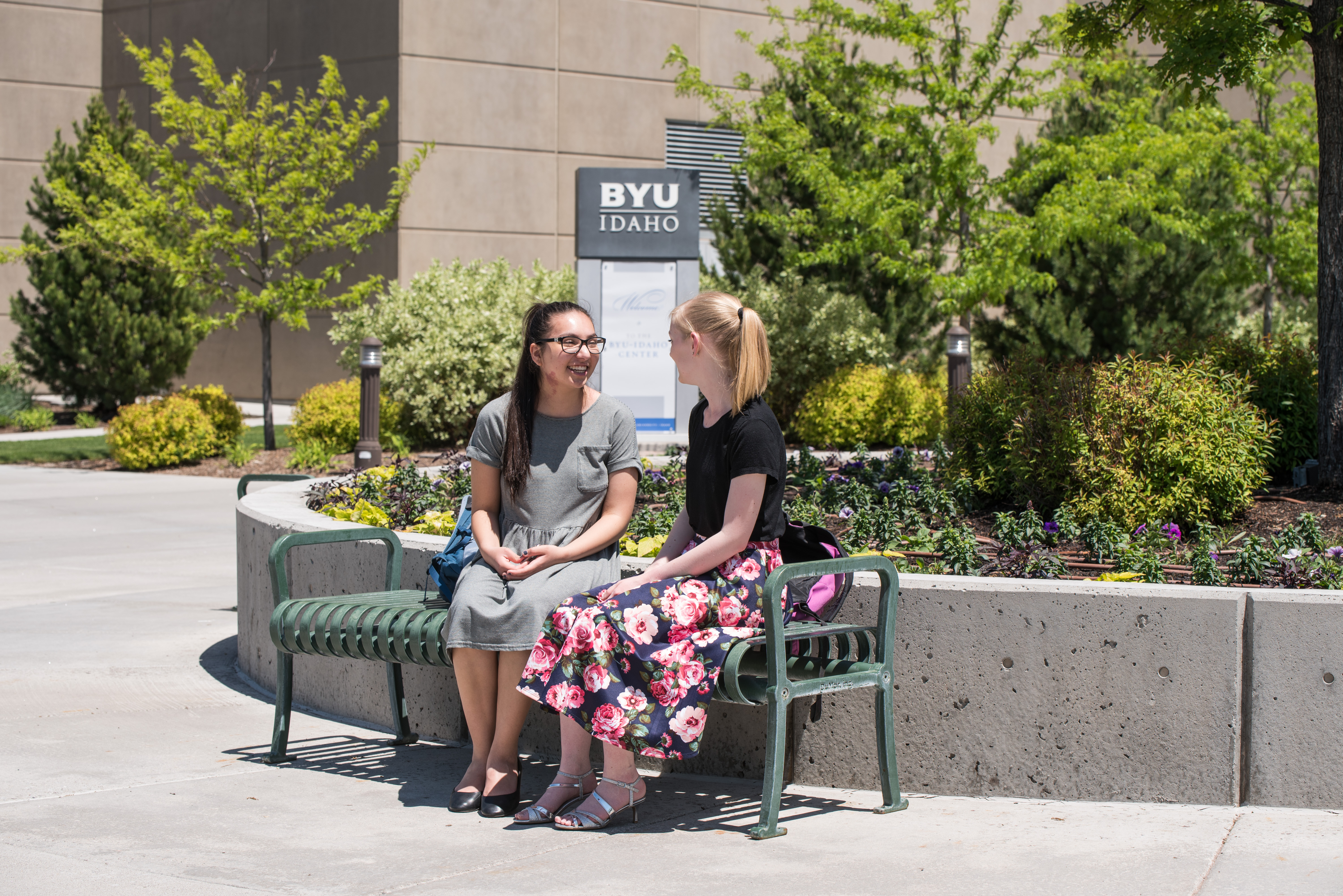 Students wait outside of the BYU-Idaho Center for the weekly devotional to begin on June 4, 2019.