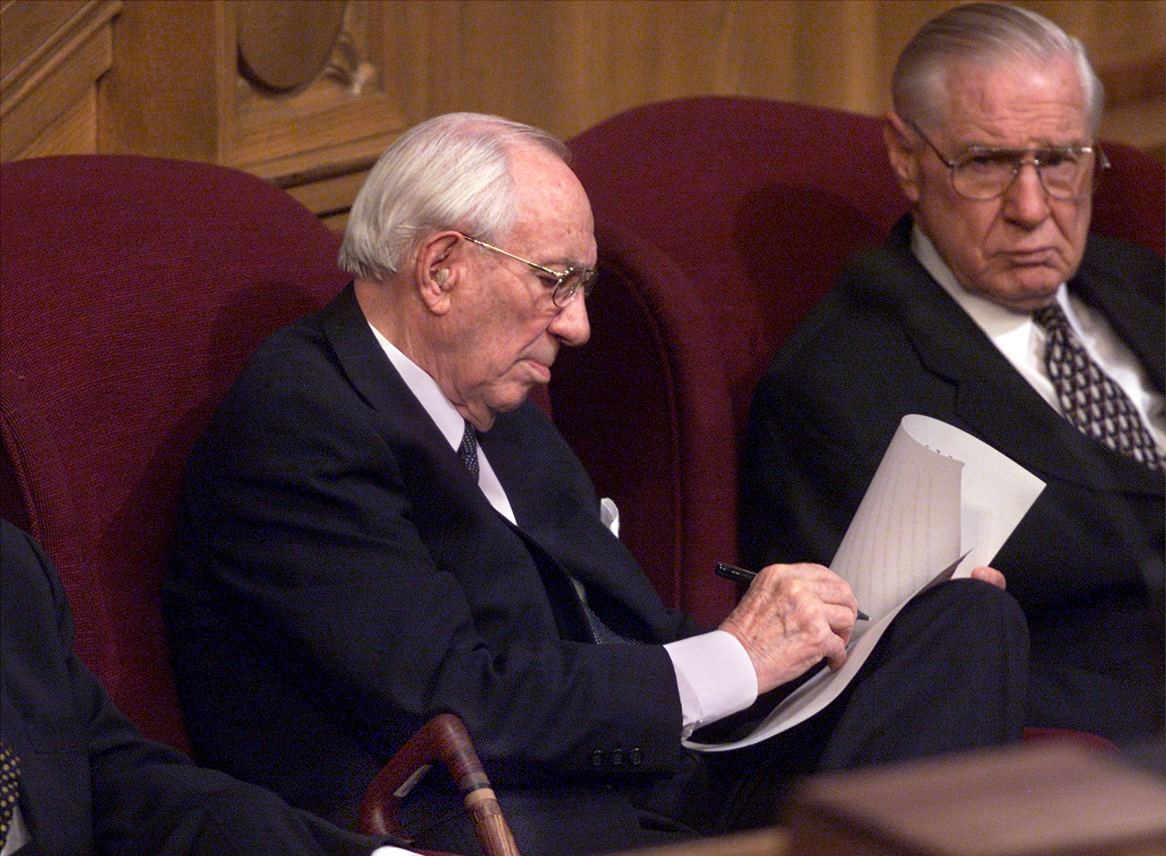 President Gordon B. Hinckley prepares an address at the memorial service in honor of those who died in the terrorist attack on the United States Sept. 11, 2001.