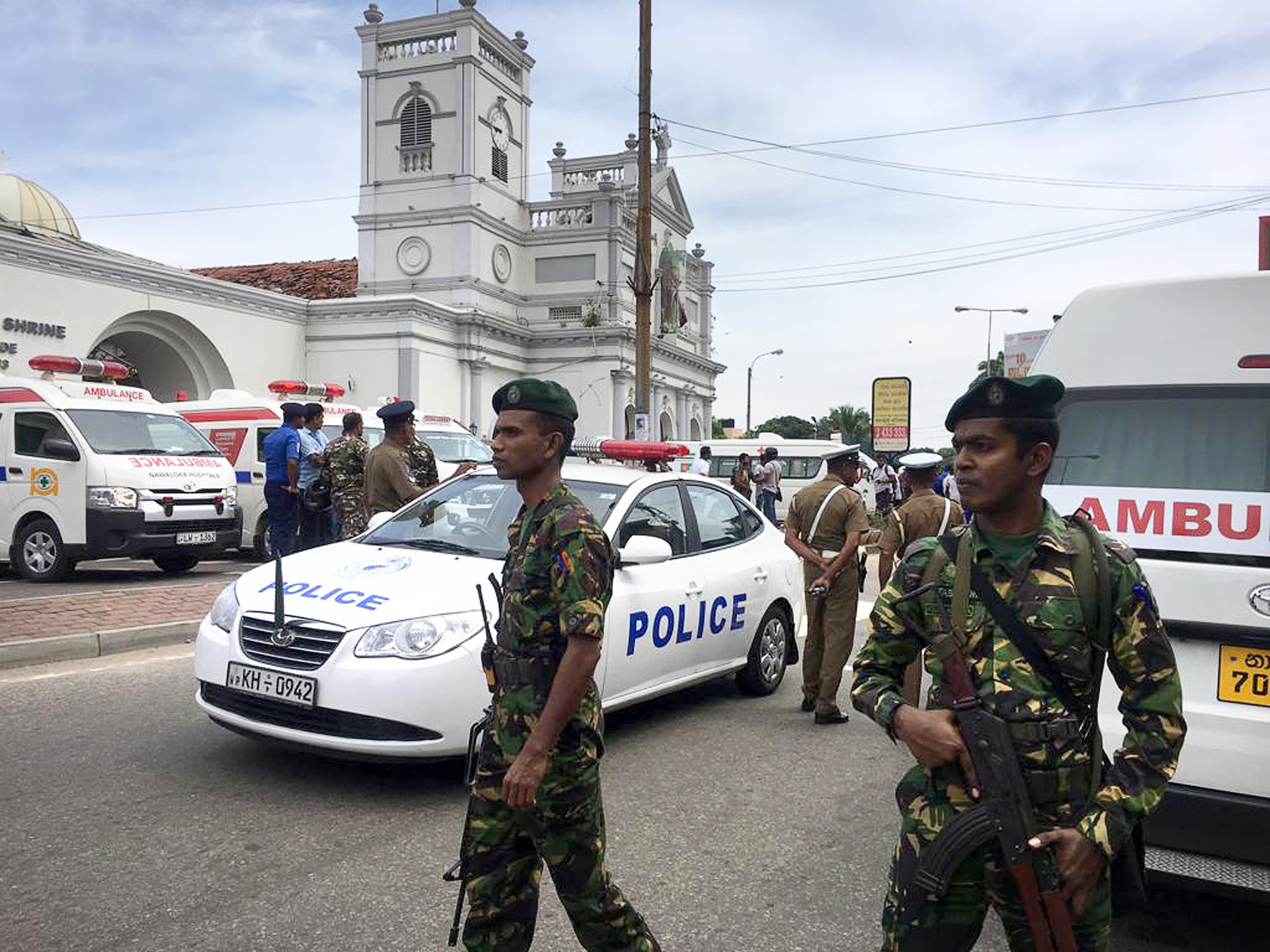 Sri Lankan Army soldiers secure the area around St. Anthony's Shrine after a blast in Colombo, Sri Lanka, Sunday, April 21, 2019.