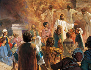 In this depiction of the Lord's visit to the people of Nephi by artist Robert T. Barrett, Jesus asked that the children be brought to Him so He could bless them and pray for them. As the Nephites watched, the heavens opened and angels came down and circled the children; the children looked as if they were being circled by fire.