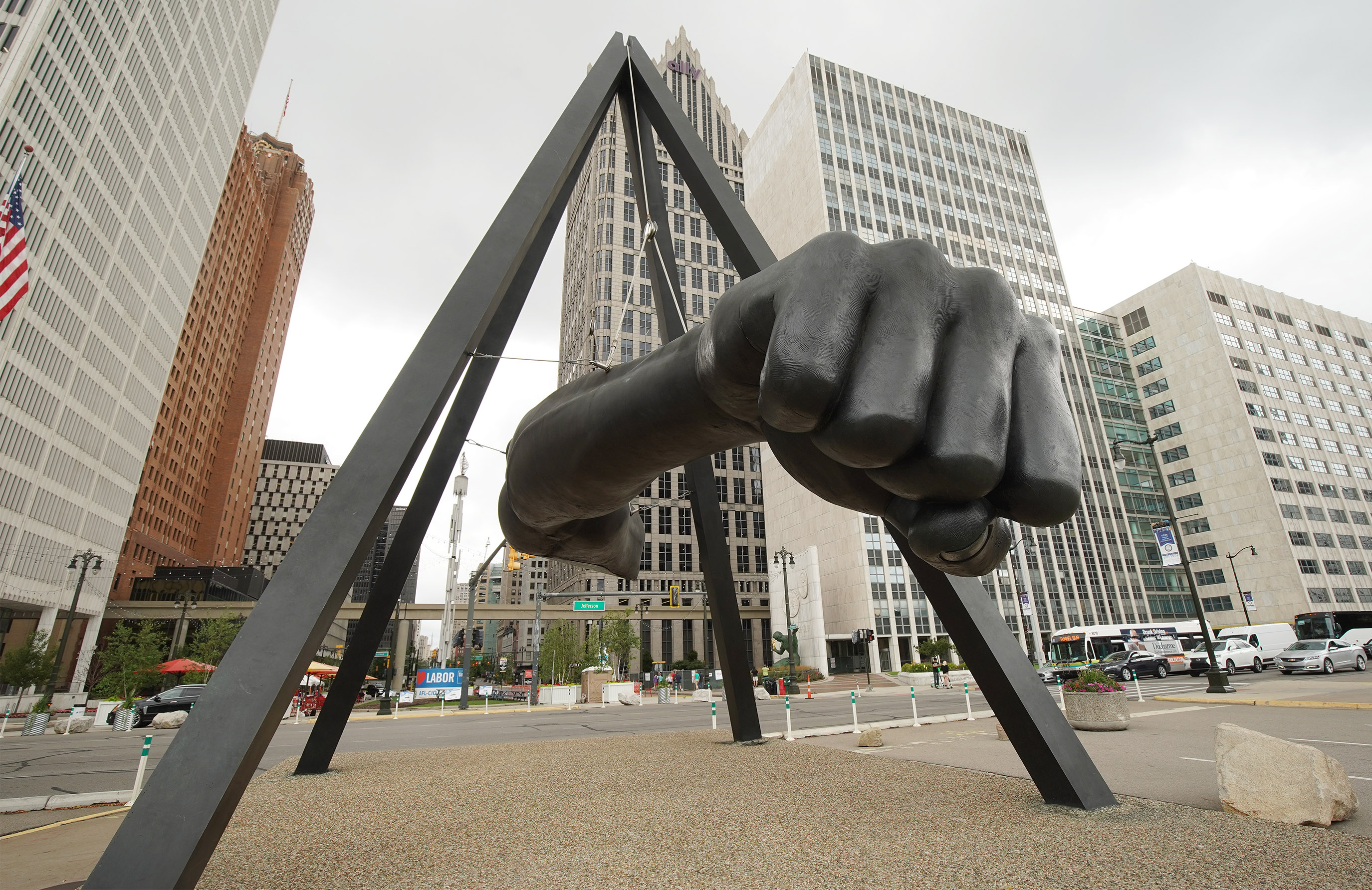 Art work of boxer Joe Louis is displayed in Detroit on Sunday, July 21, 2019.