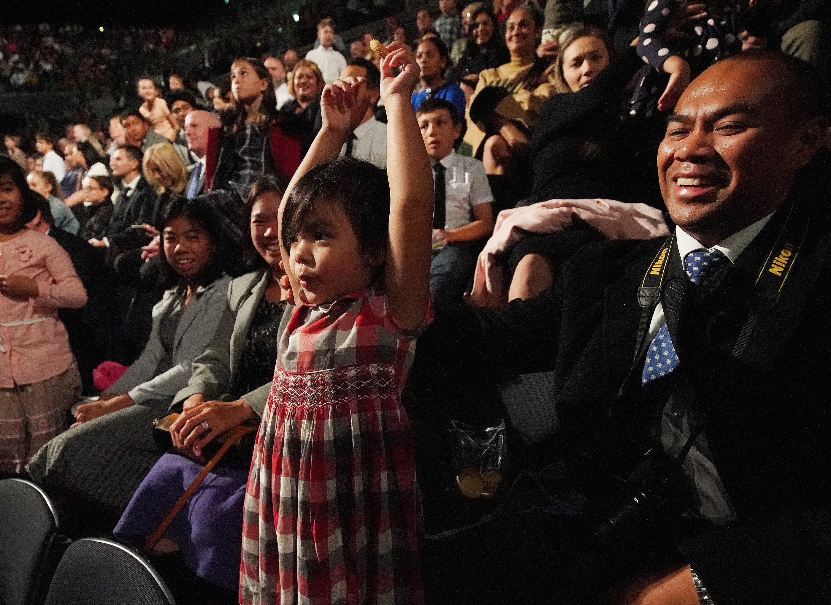 Zeline Soriano, 4, sings after President Russell M. Nelson of The Church of Jesus Christ of Latter-day Saints asked Primary-age children to sing during a devotional at Spark Arena in Auckland, New Zealand, on May 21, 2019.