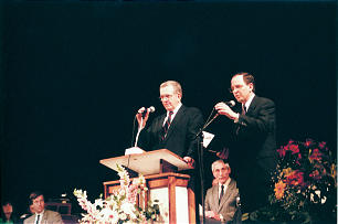 President Boyd K. Packer organizes the Bordeaux France Stake — the sixth in the country — created on May 24, 1992. Elder Neil L. Andersen — who was serving as President of the Bordeaux France Mission — stands to his side to interpret.who was serving as President of the Bordeaux France Mission — stands to his side to interpret.