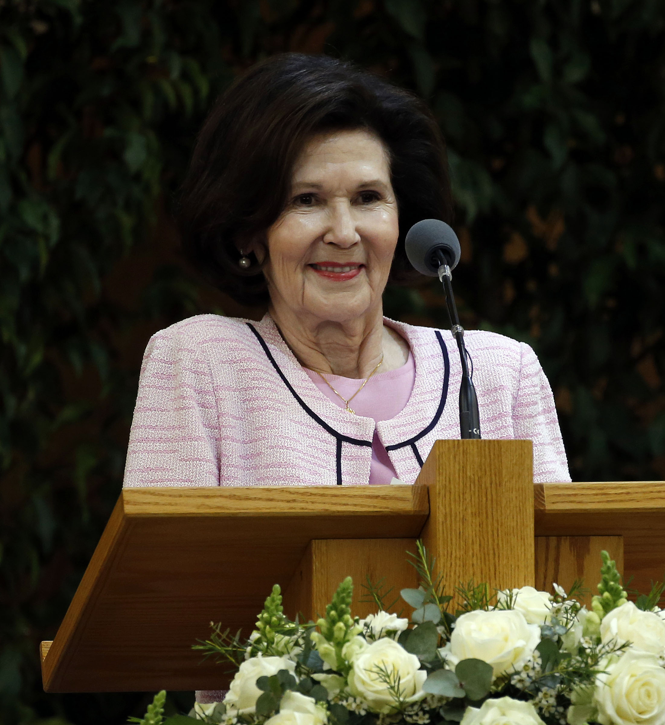 Sister Patricia Holland speaks during a meeting at the Hyde Park Chapel of The Church of Jesus Christ of Latter-day Saints in London on Thursday, April 12, 2018.