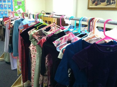 Members donated clothing to needy neighbors for the neighbor-to-neighbor giveaway.