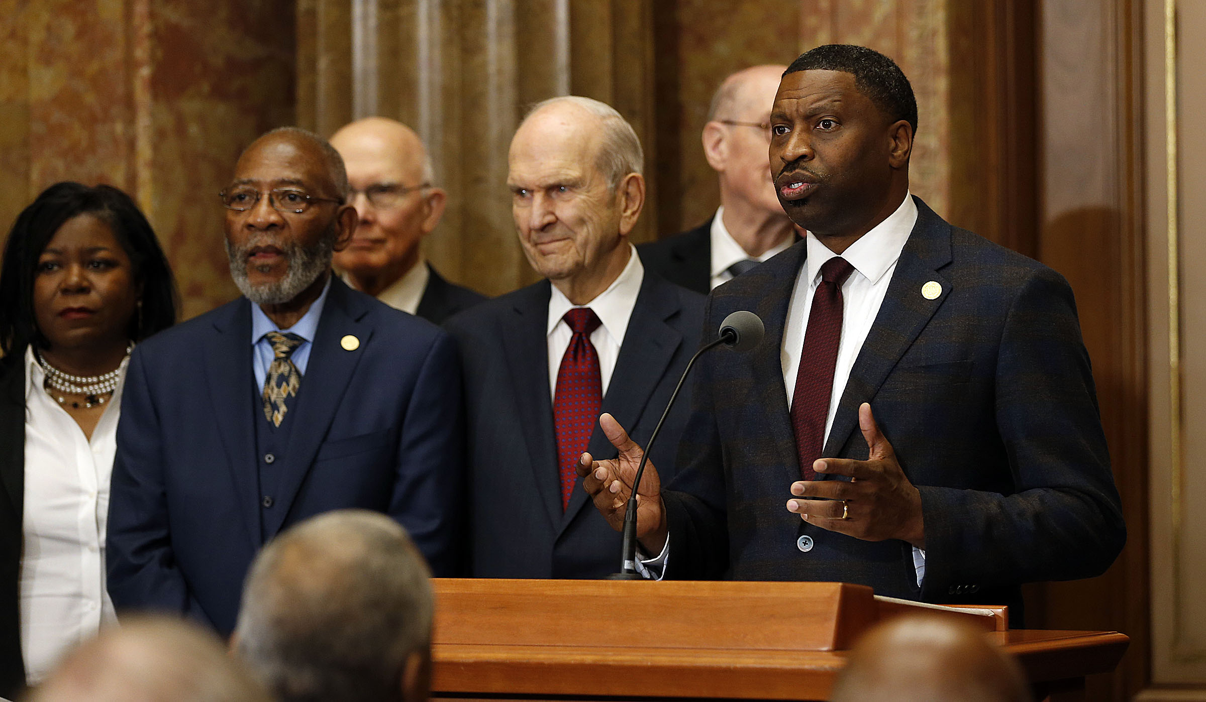 Derrick Johnson, president and CEO of the NAACP, speaks with President Russell M. Nelson of The Church of Jesus Christ of Latter-day Saints at left during a press conference in Salt Lake City on Thursday, May 17, 2018.