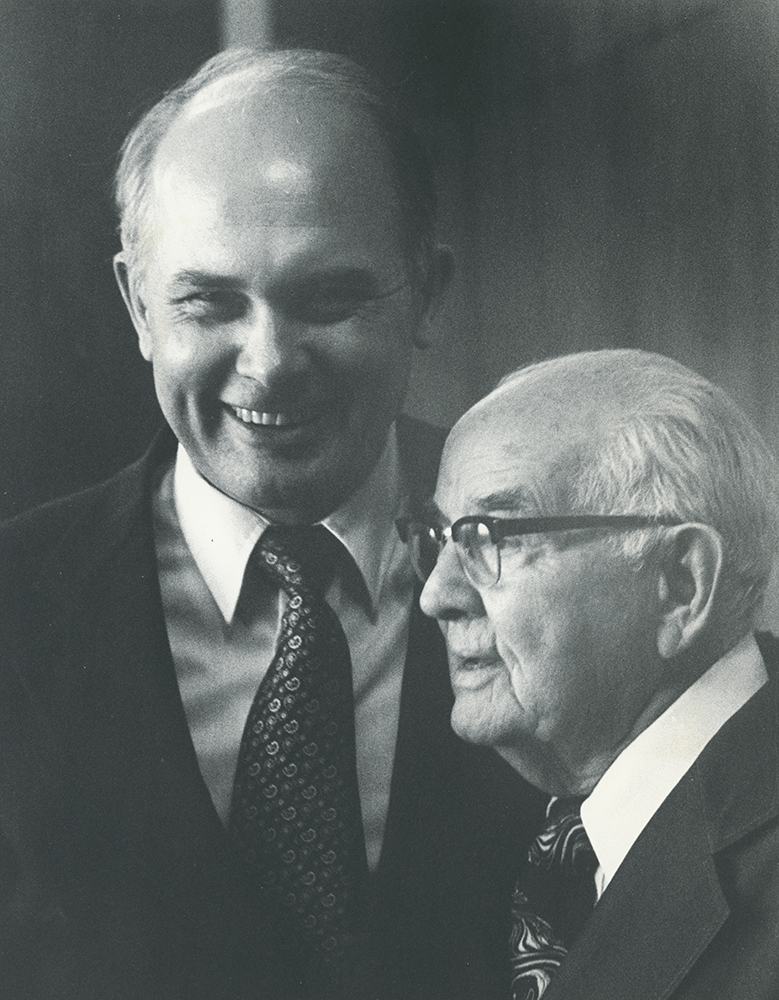 Dr. Dallin Oaks, president of BYU with President Spencer W. Kimball.