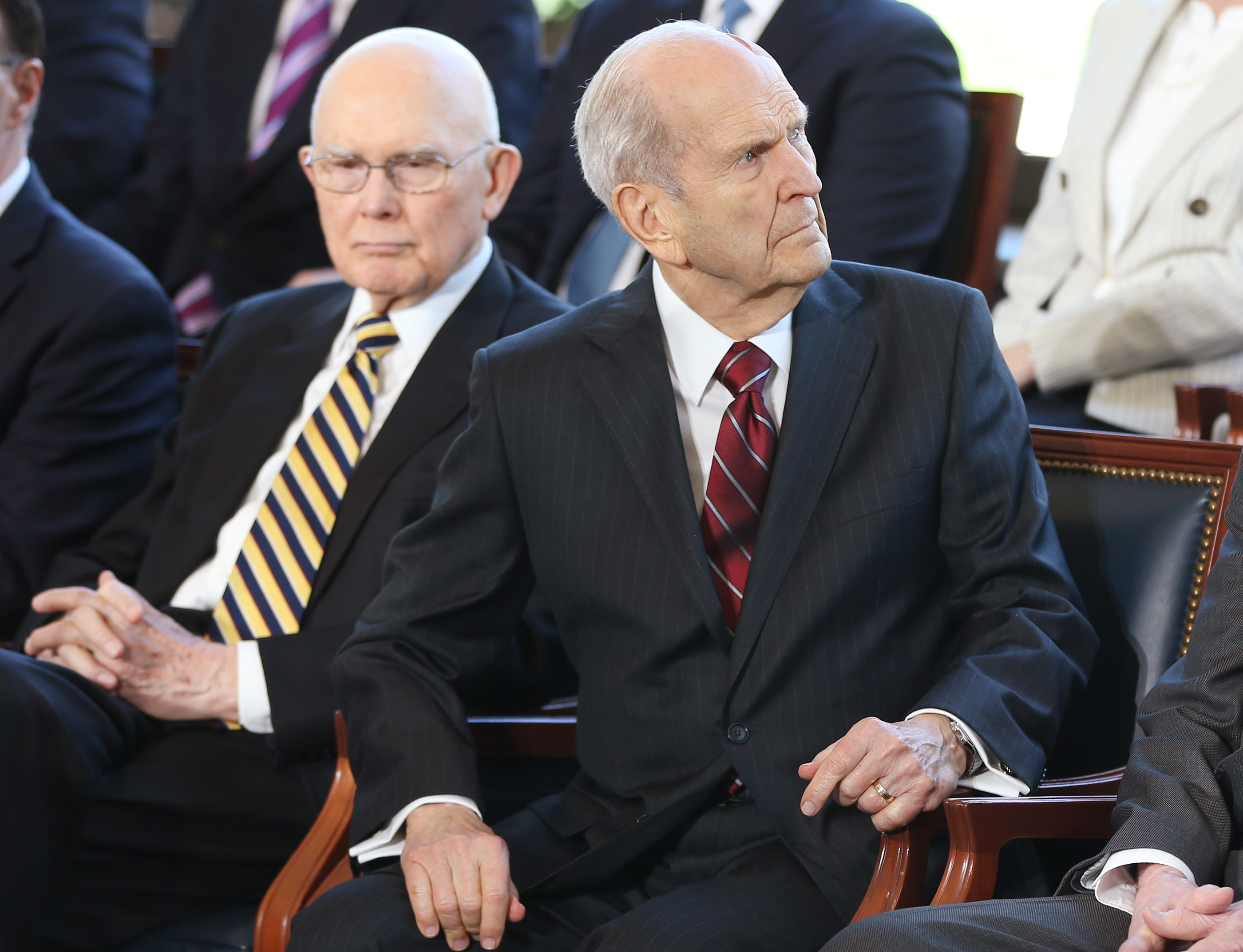 President Russell M. Nelson of The Church of Jesus Christ of Latter-day Saints looks over renderings during a press conference in Salt Lake City on Friday, April 19, 2019 about renovations to the Salt Lake Temple and Temple Square.